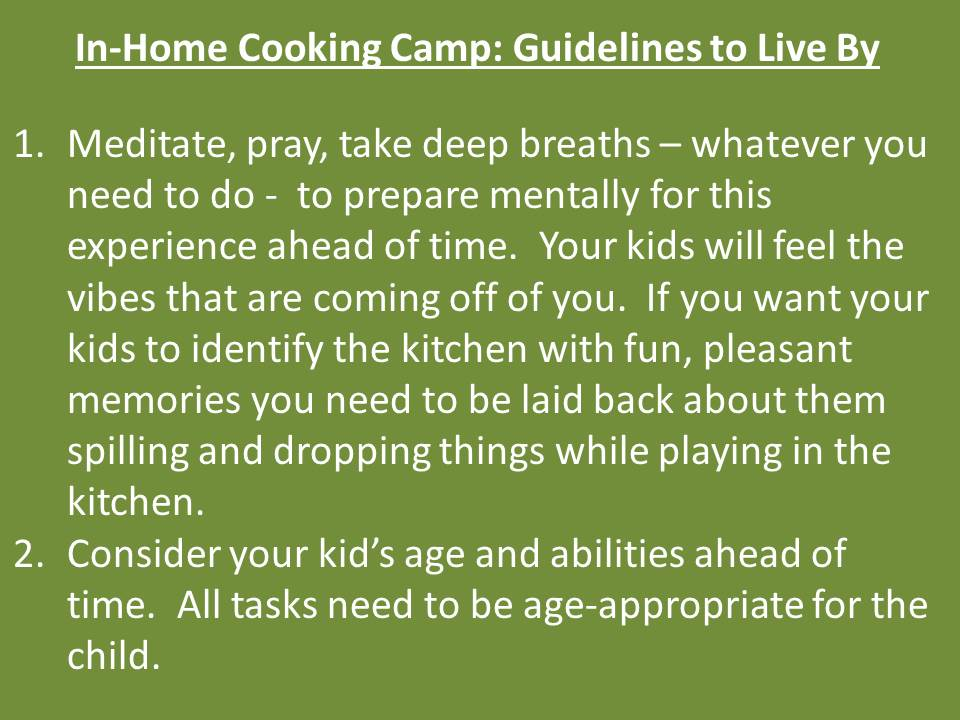 Cooking Camp Guidelines
