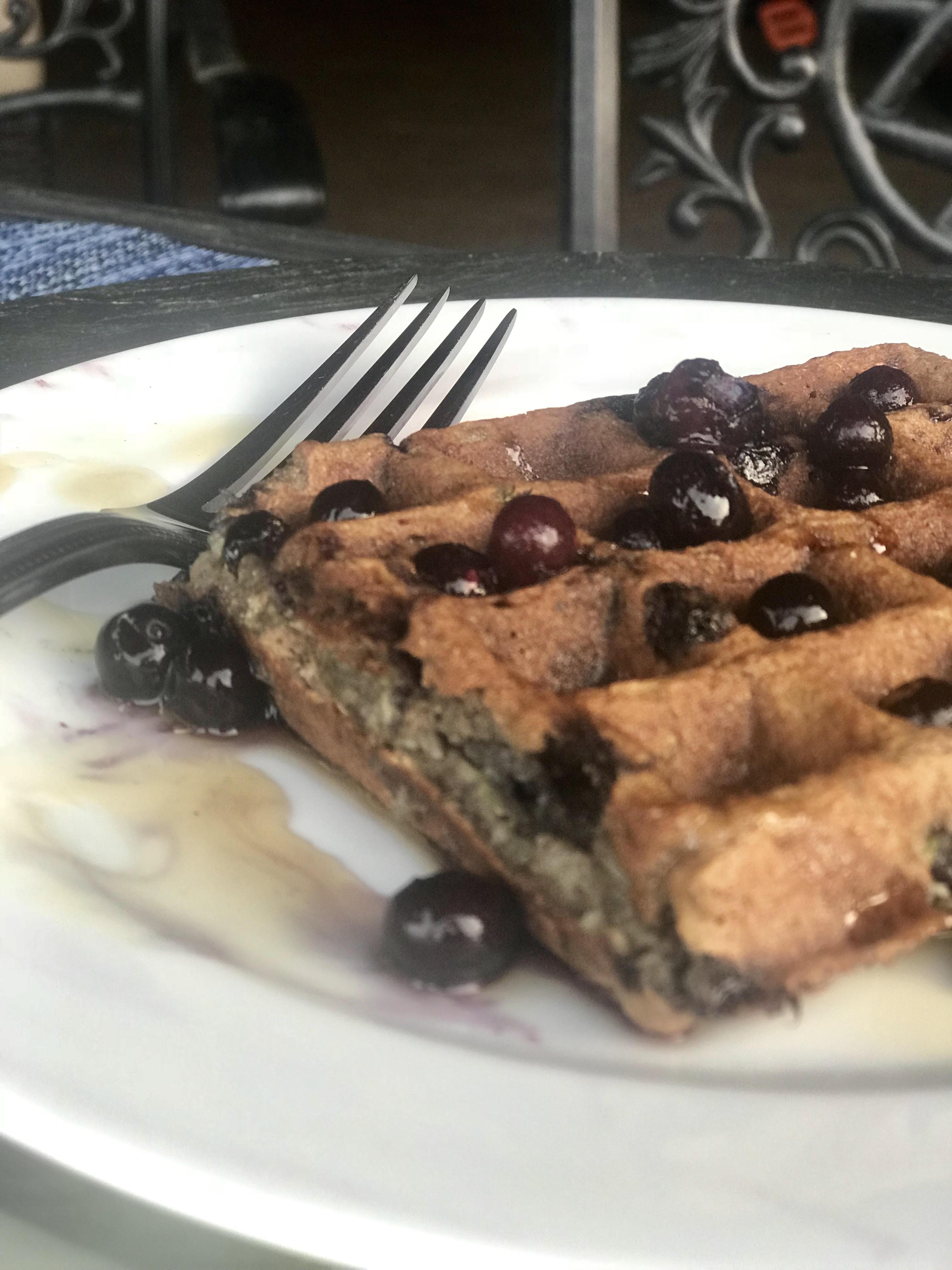Zucchini Blueberry Waffles