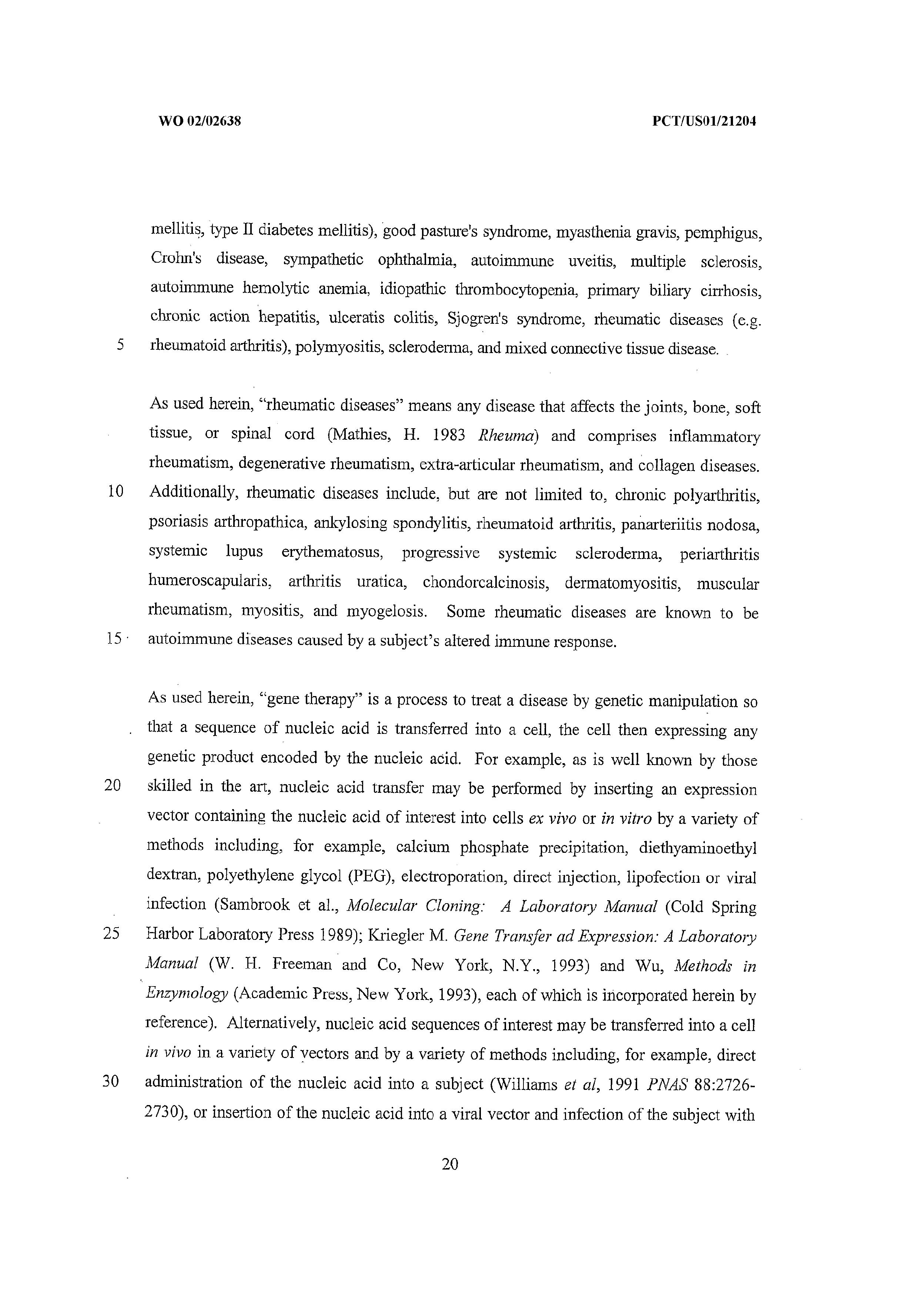 Au 2001273174 B2 Methods For Treating Rheumatic Diseases Using A