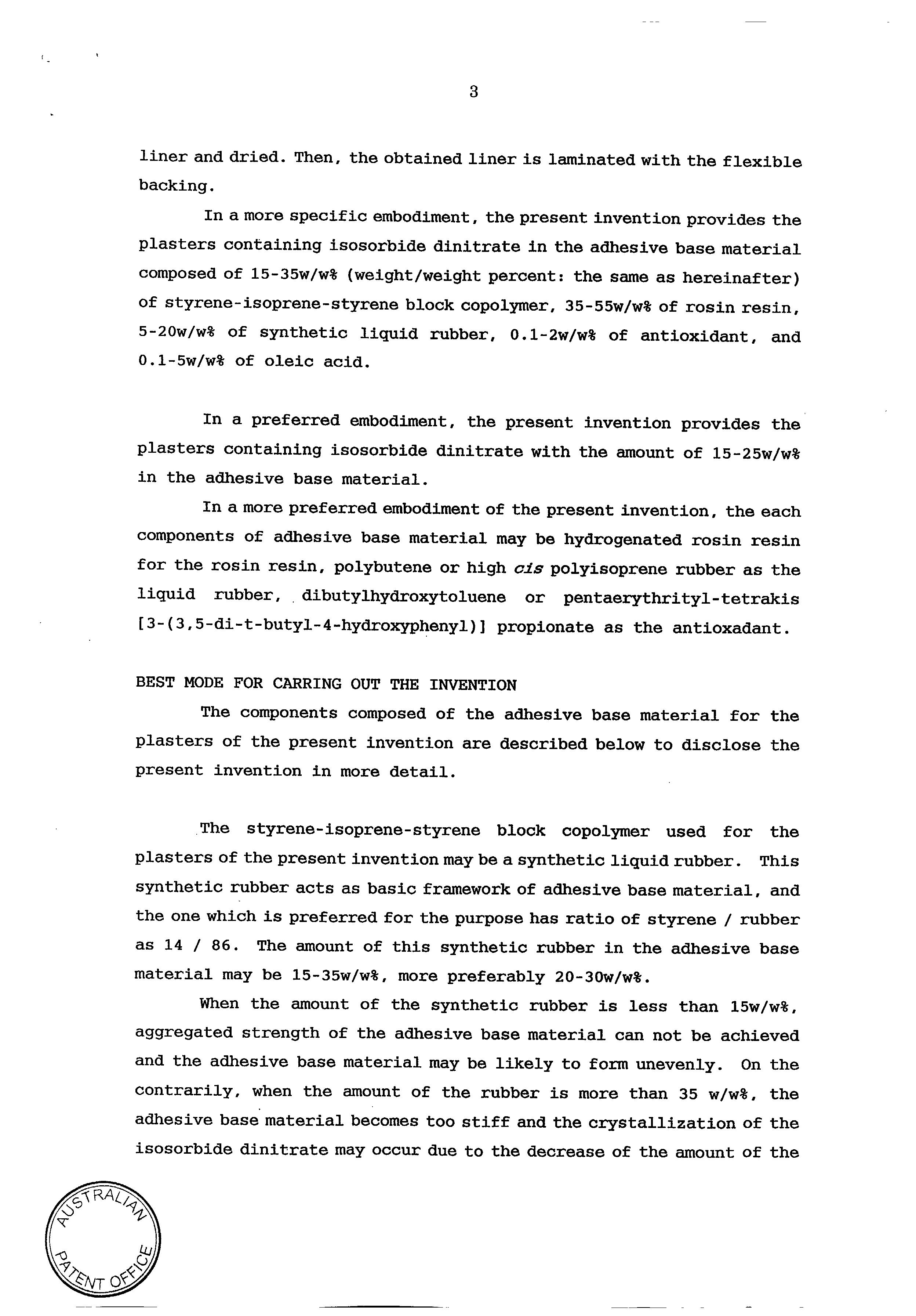 AU 726537 B2 - Plasters Containing Isosorbide Dinitrate