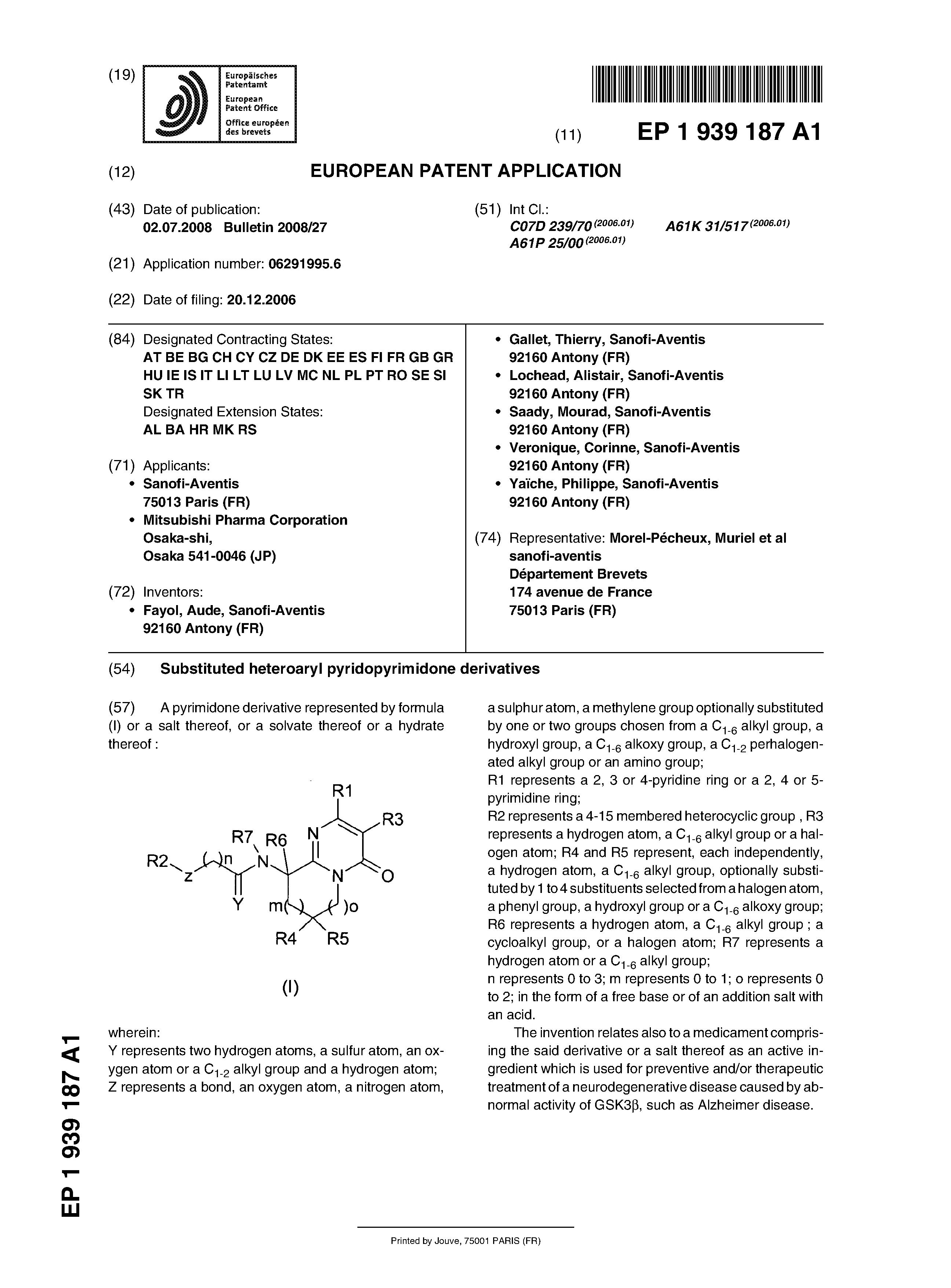EP 2121635 A2 - Substituted Heteroaryl Pyridopyrimidone Derivatives