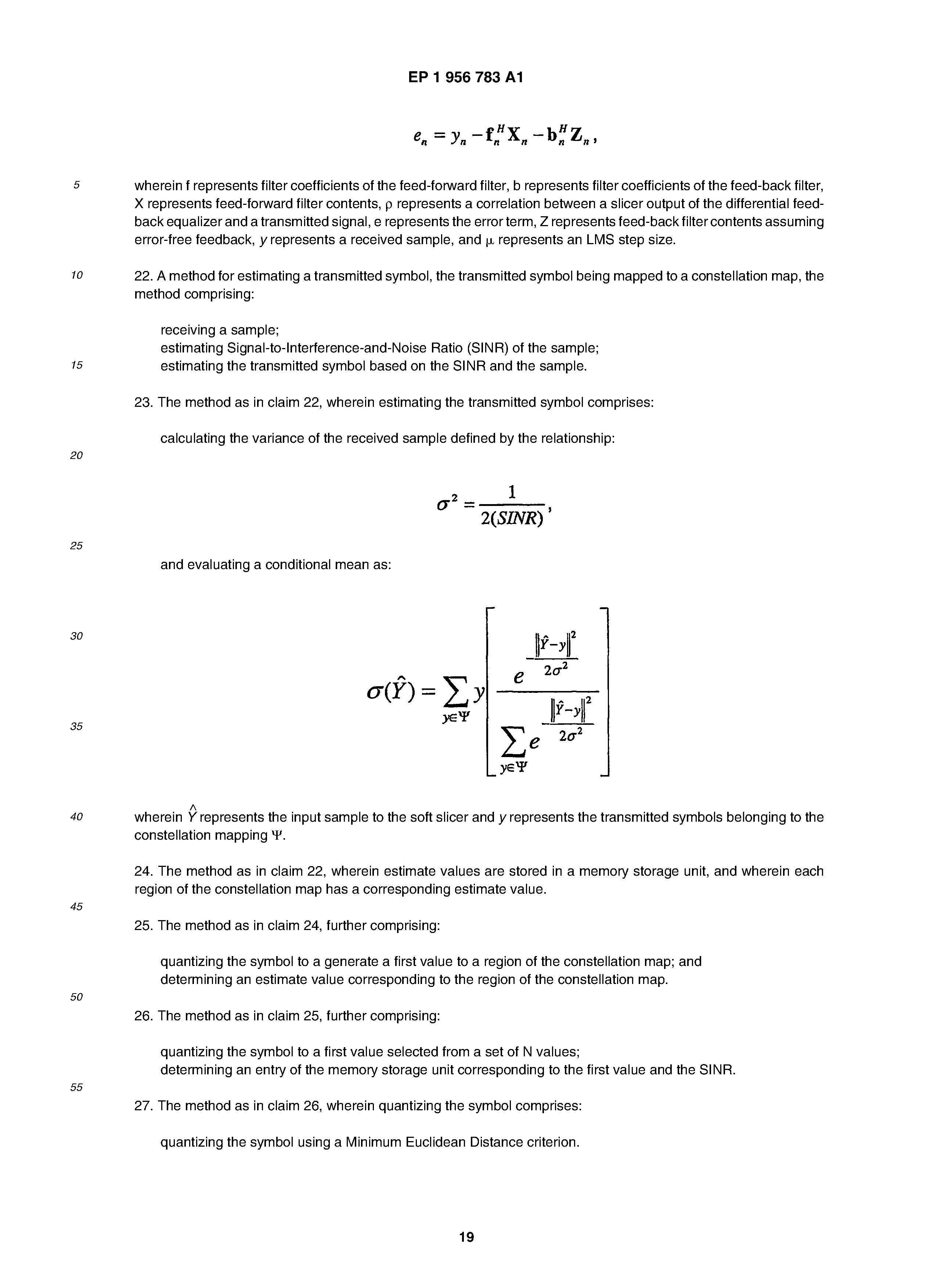 Ep 1956783 A1 Method And Apparatus For Use In Decision Feedback