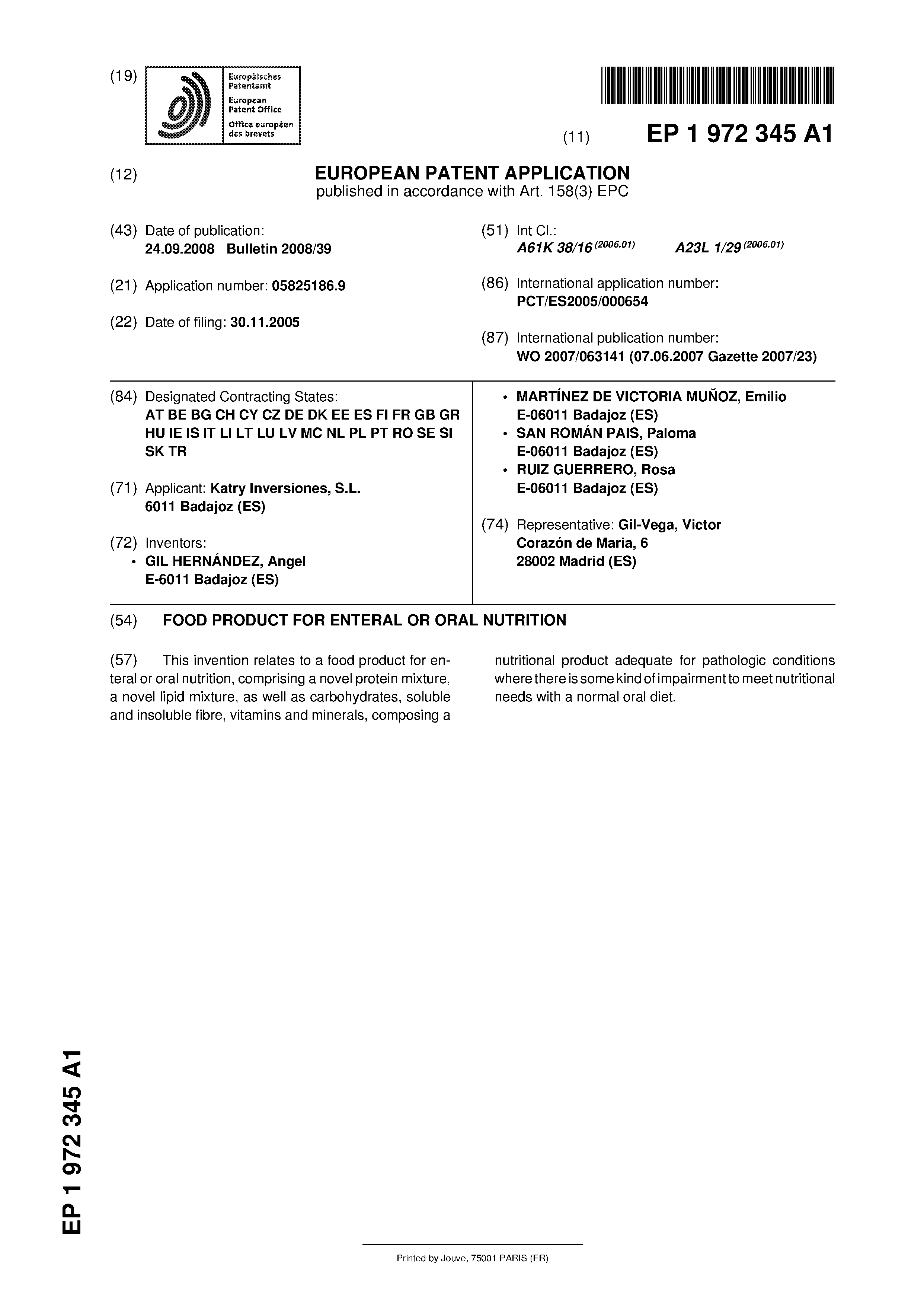 EP 1972345 A1 - Food Product For Enteral Or Oral Nutrition