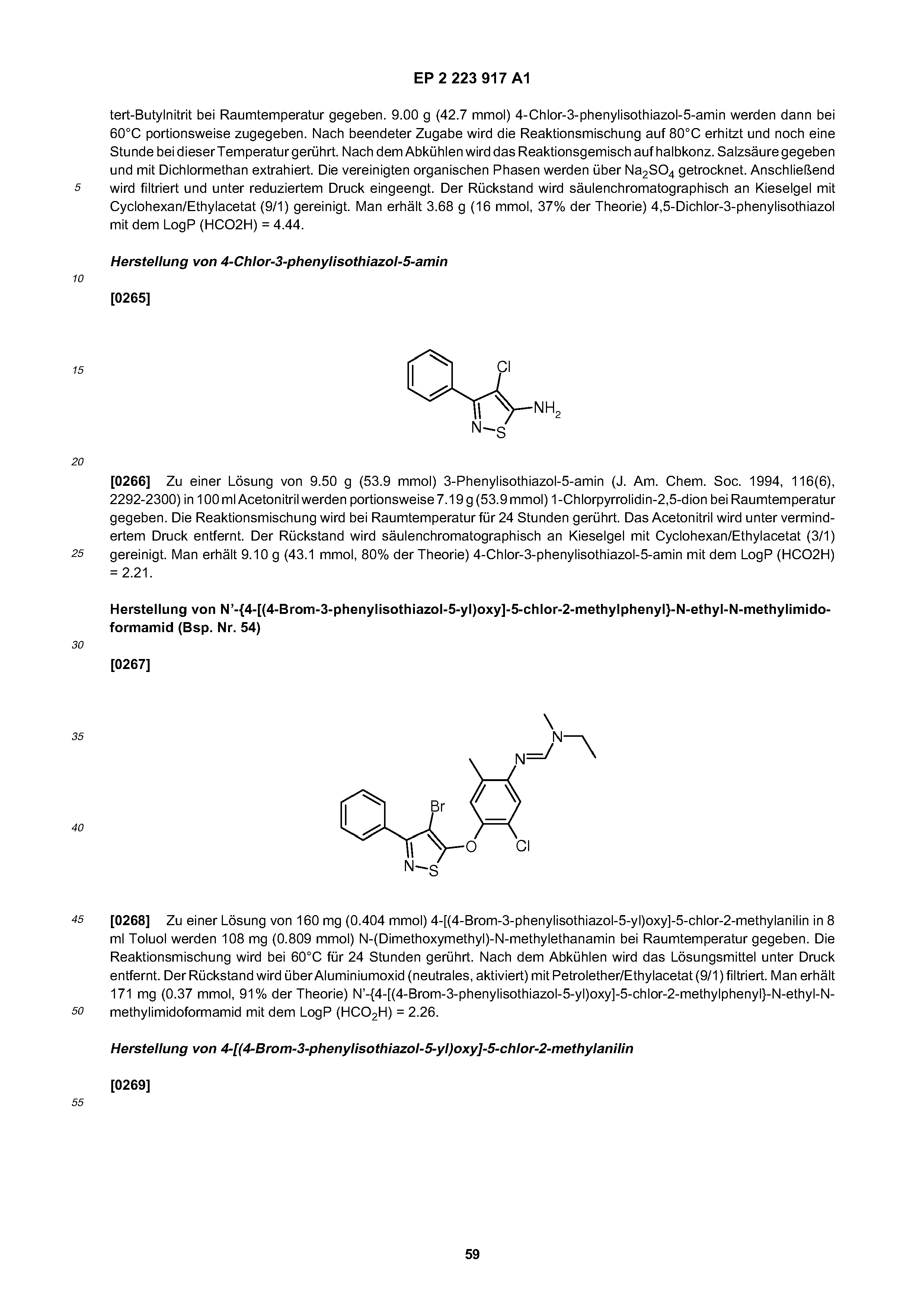 EP 2223917 A1 - Isothiazolyloxyphenylamidines And Their Use
