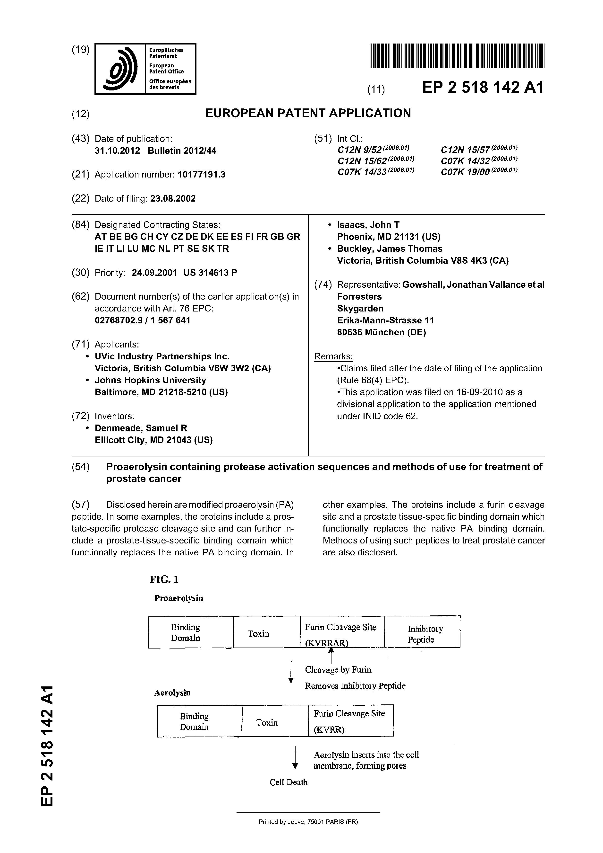 EP 2518142 A1 - Proaerolysin Containing Protease Activation