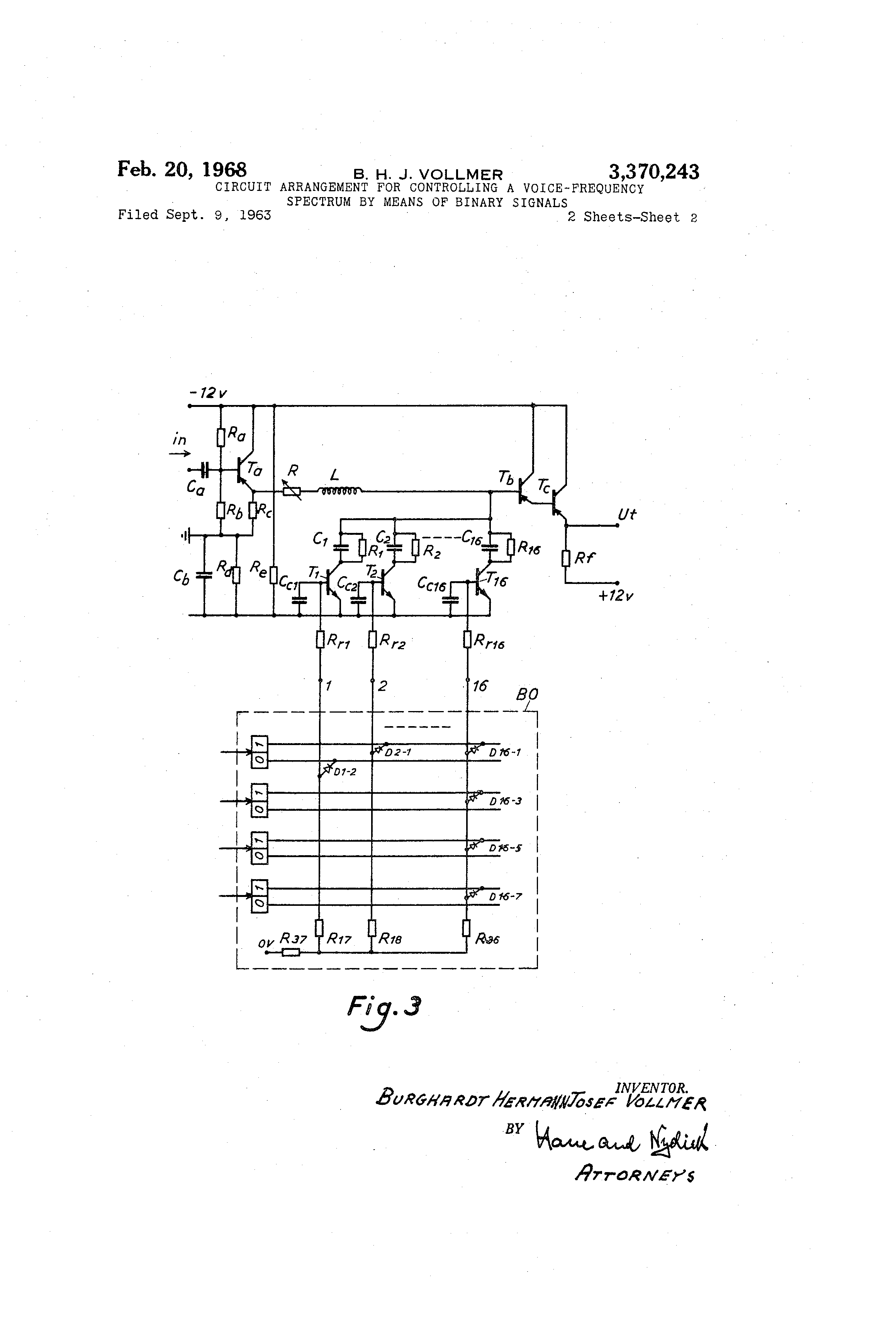 US 3370243 A - Circuit Arrangement For Controlling A Voice-frequency ...