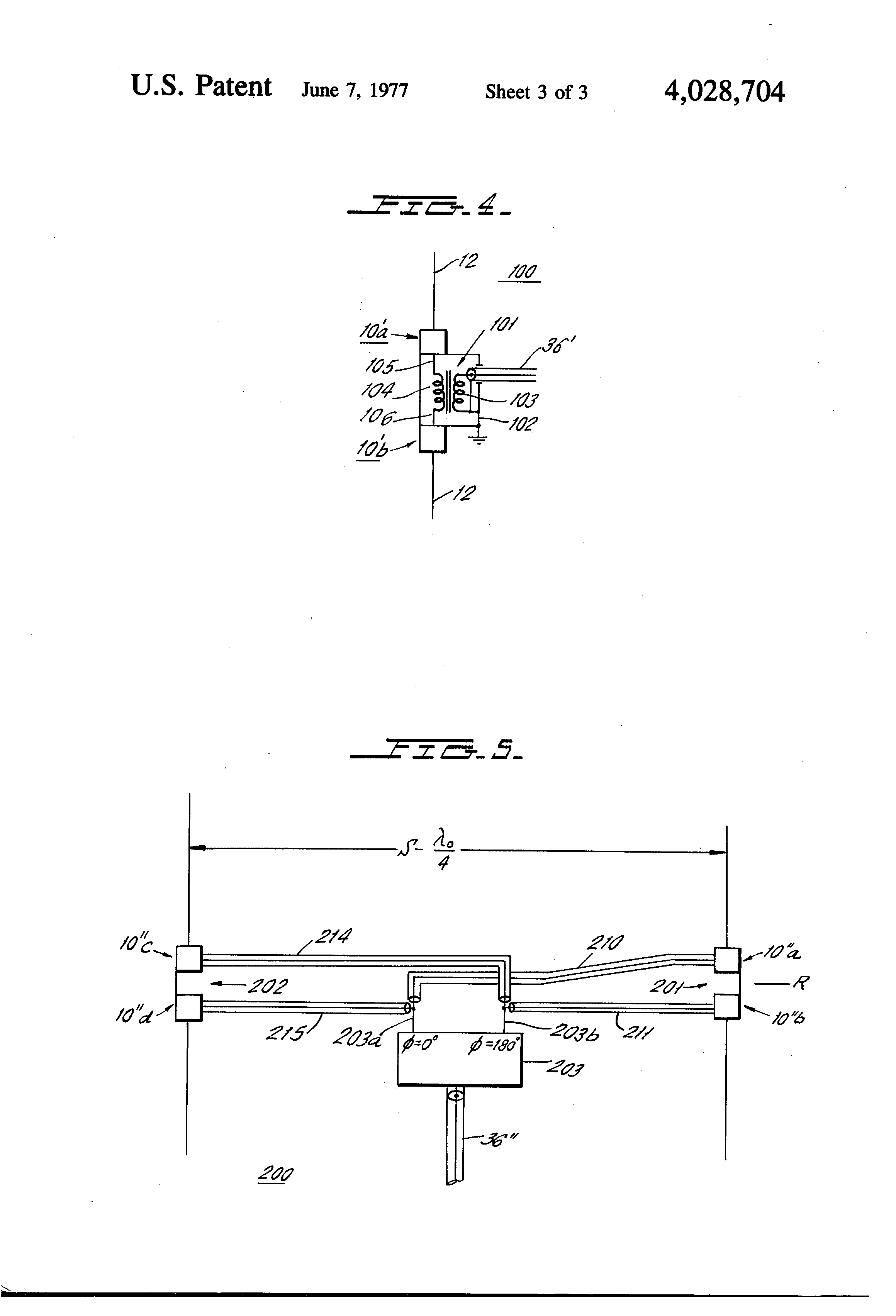 US 4028704 A - Broadband Ferrite Transformer-fed Whip