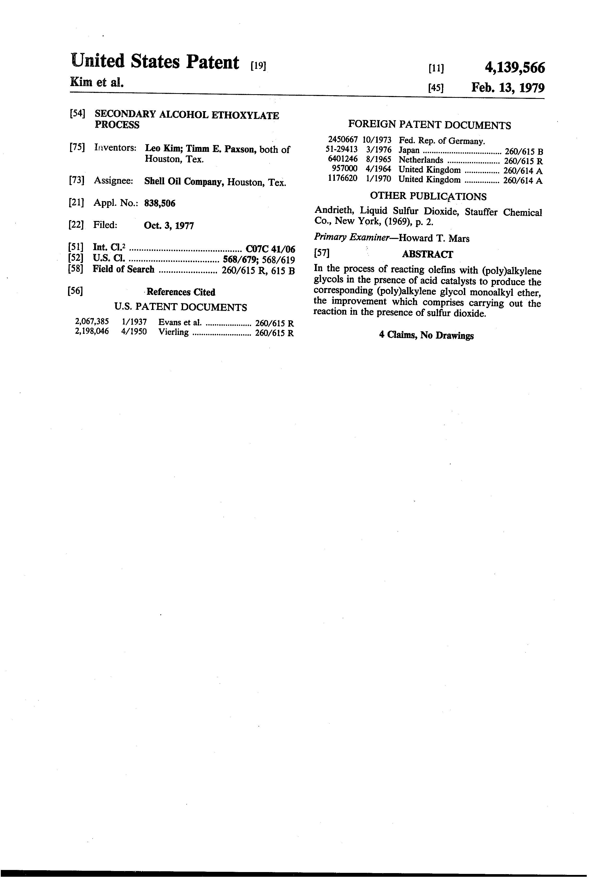 US 4139566 A - Secondary Alcohol Ethoxylate Process - The Lens