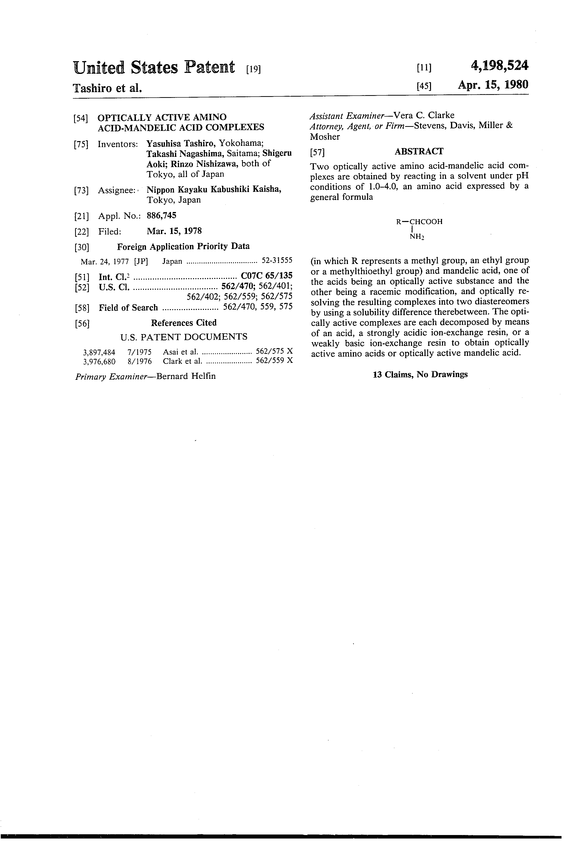 US 4198524 A - Optically Active Amino Acid-mandelic Acid