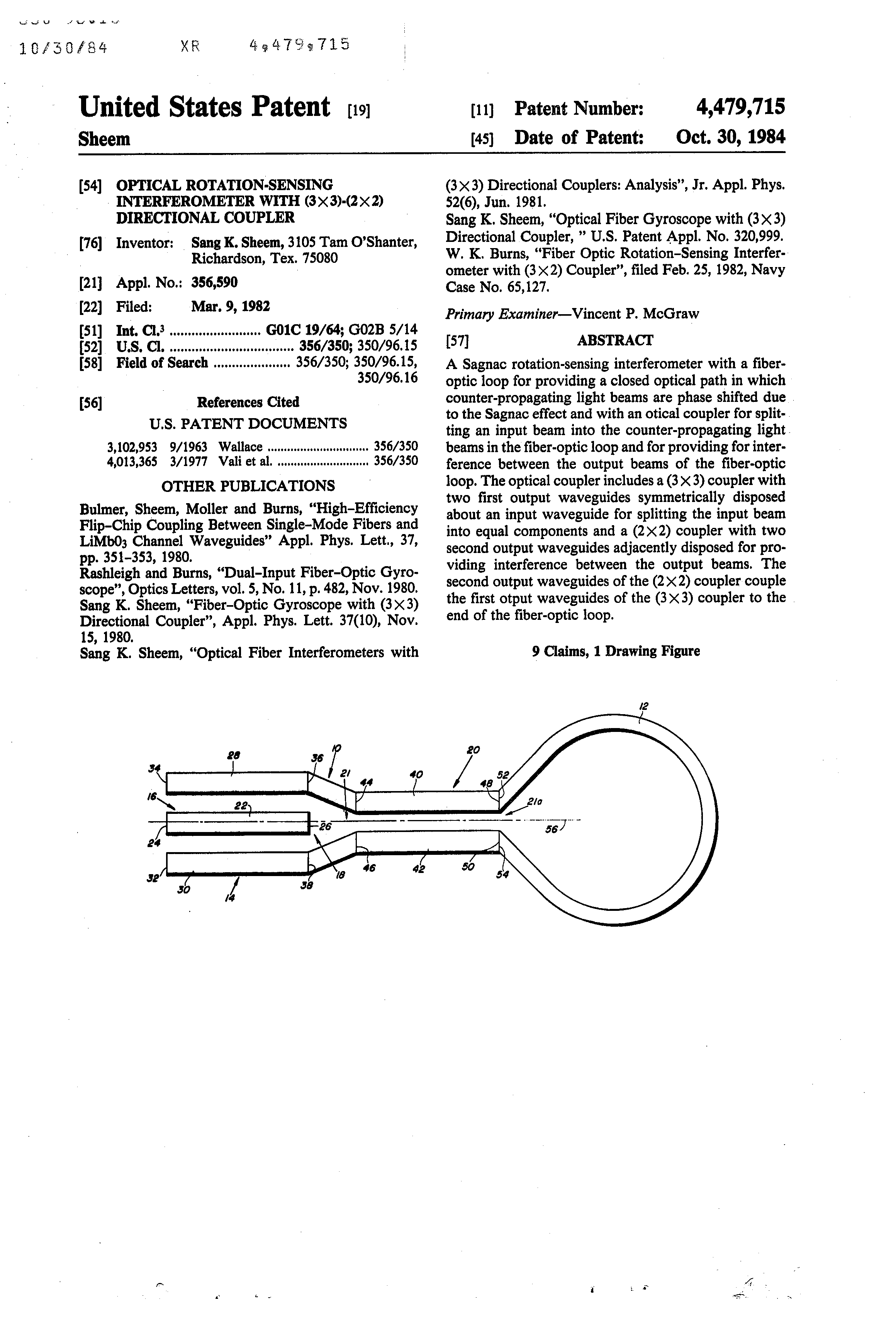 US 4479715 A - Optical Rotation-sensing Interferometer With