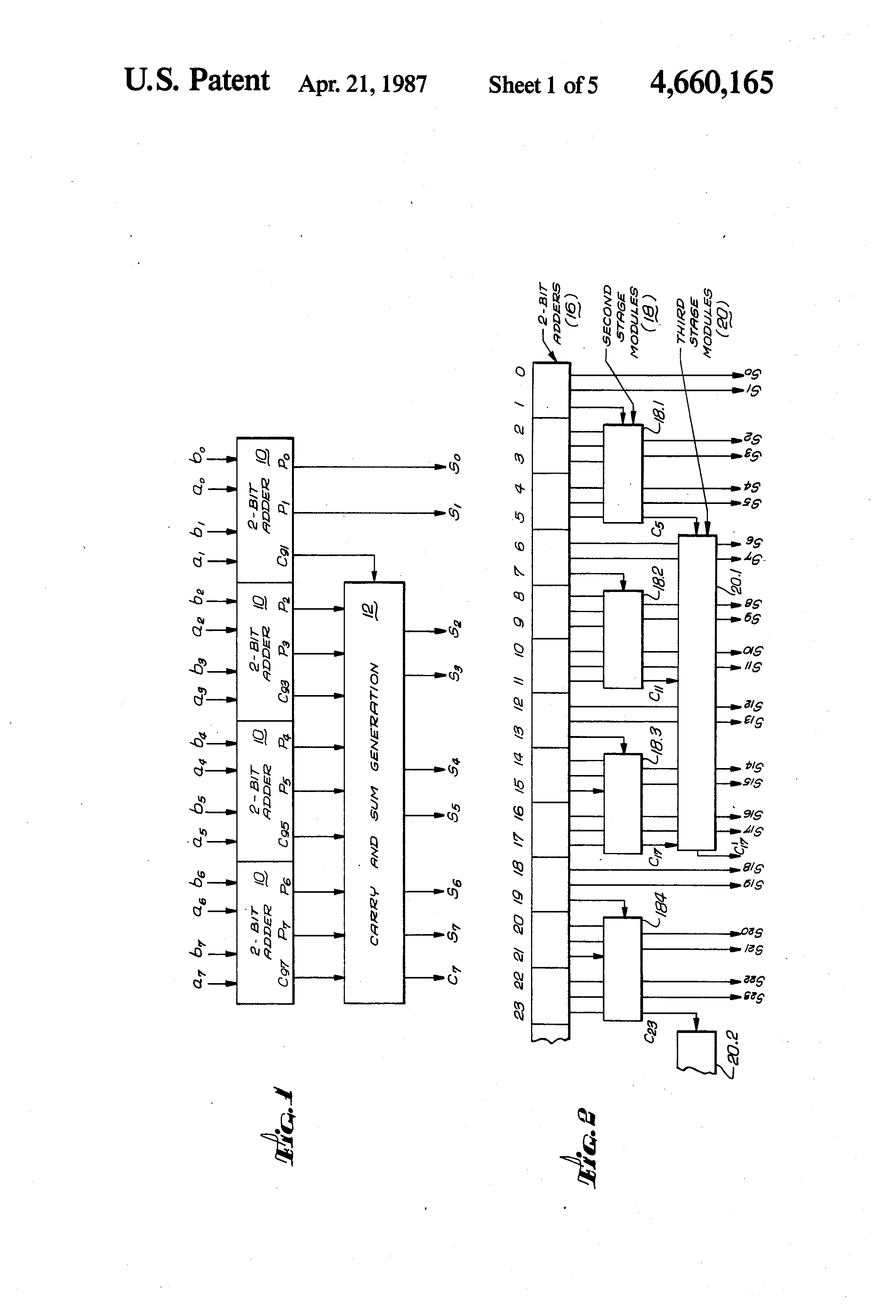 Us 4660165 A Pyramid Carry Adder Circuit The Lens Free Open 2 Twobit Page 11