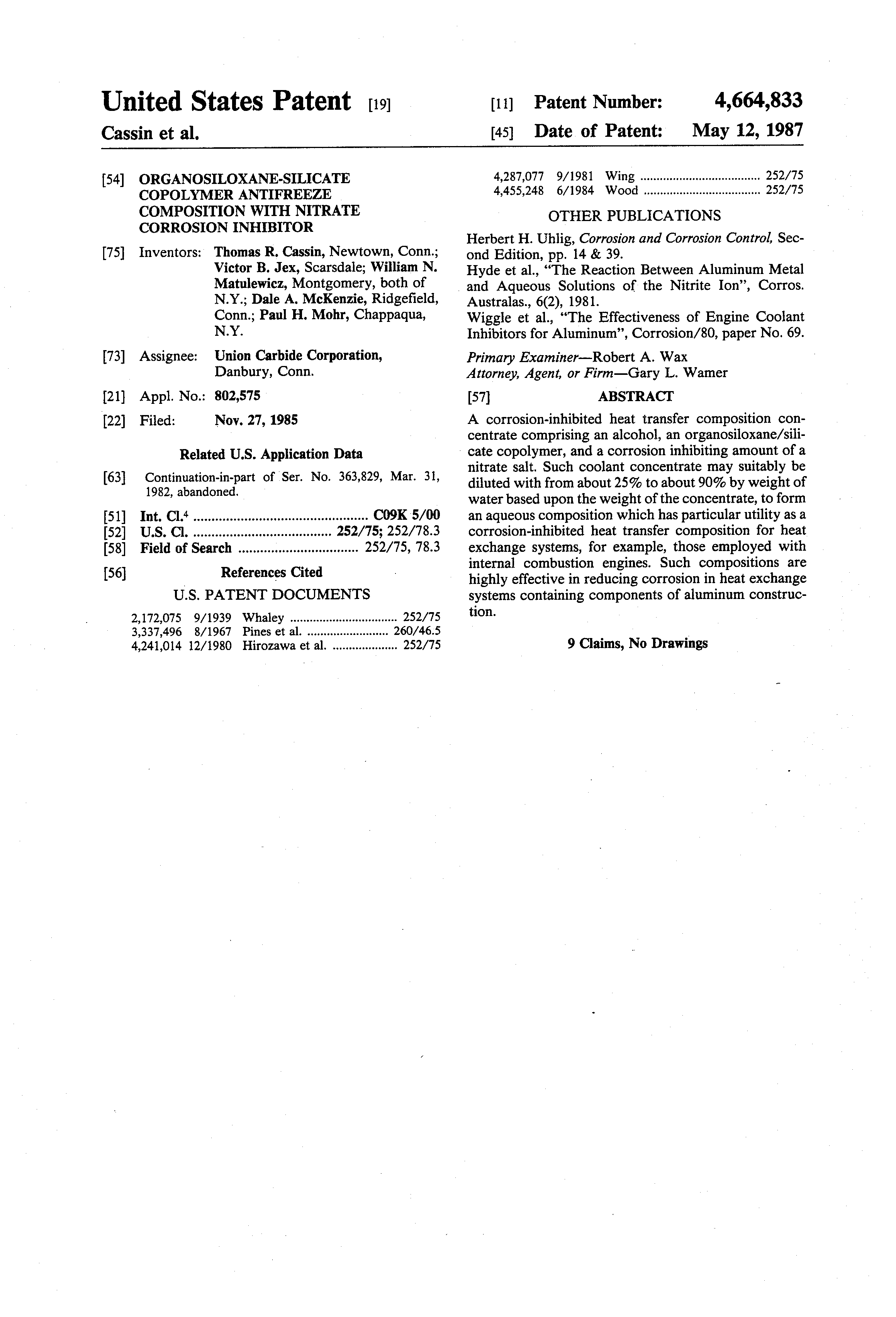 US 4664833 A - Organosiloxane-silicate Copolymer Antifreeze