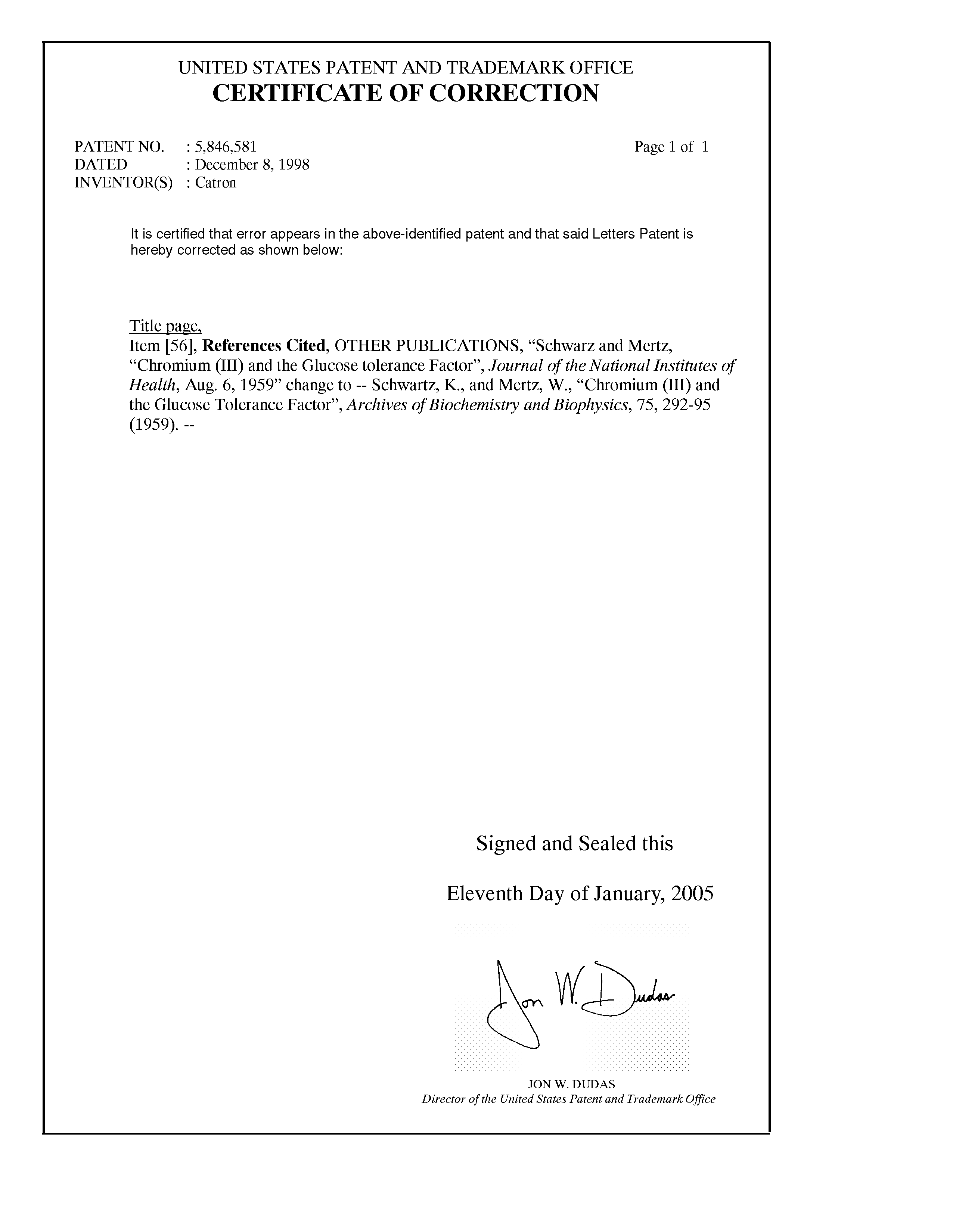 Us 5846581 A Chromium Iii Salts Of Short Chain Fatty Acids
