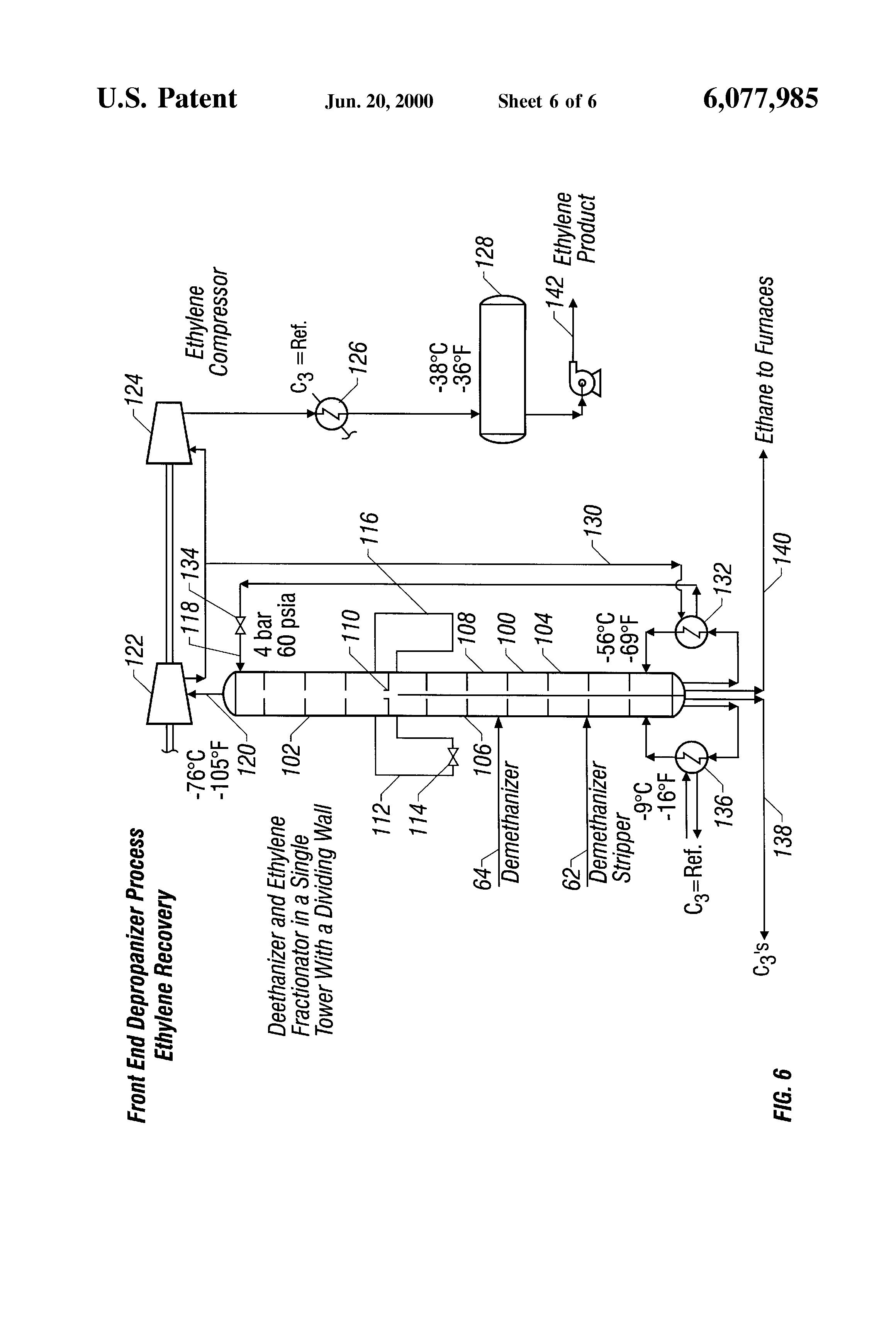 US 6077985 A - Integrated Deethanizer/ethylene Fractionation