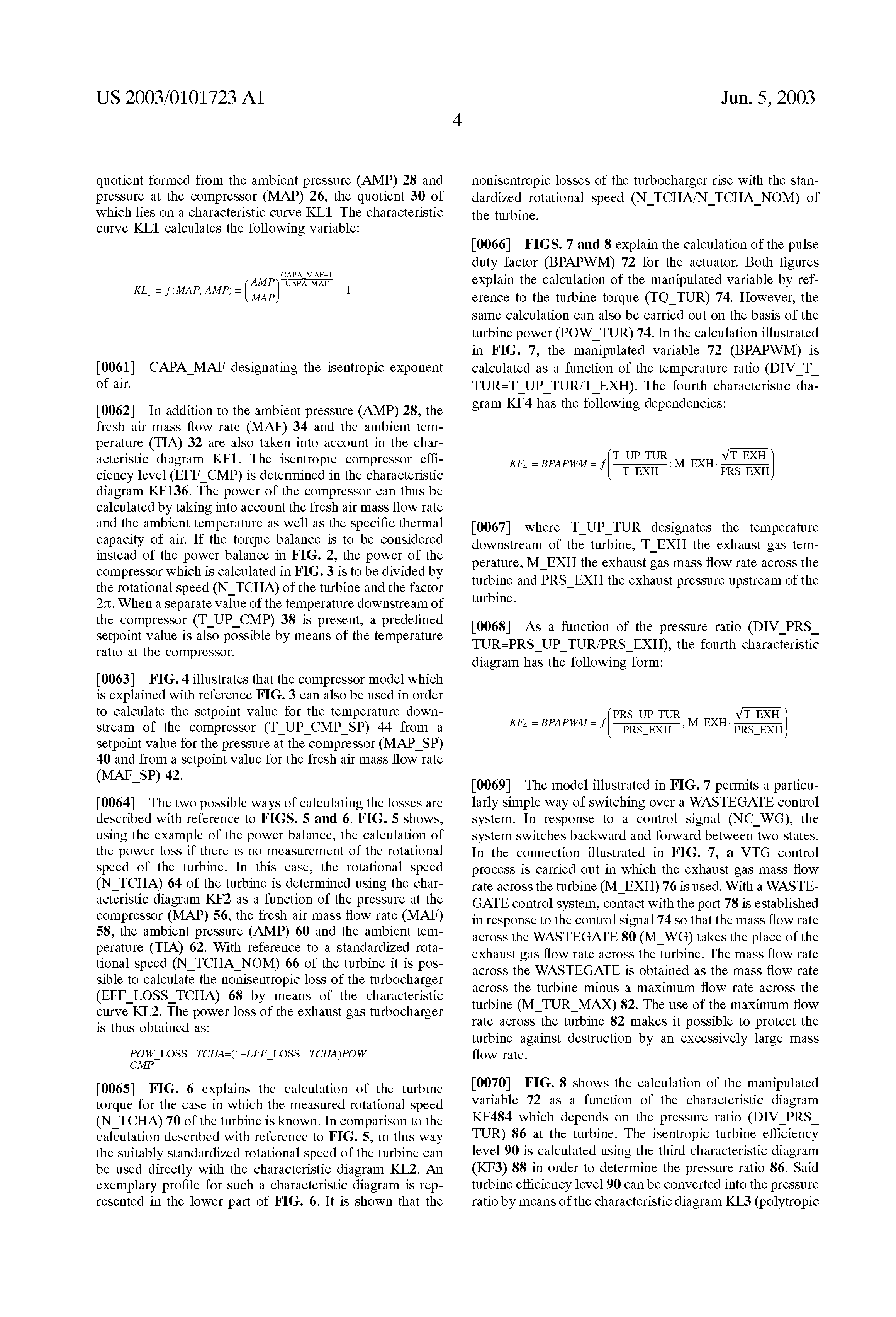 US 2003/0101723 A1 - Method For Controlling A Charge