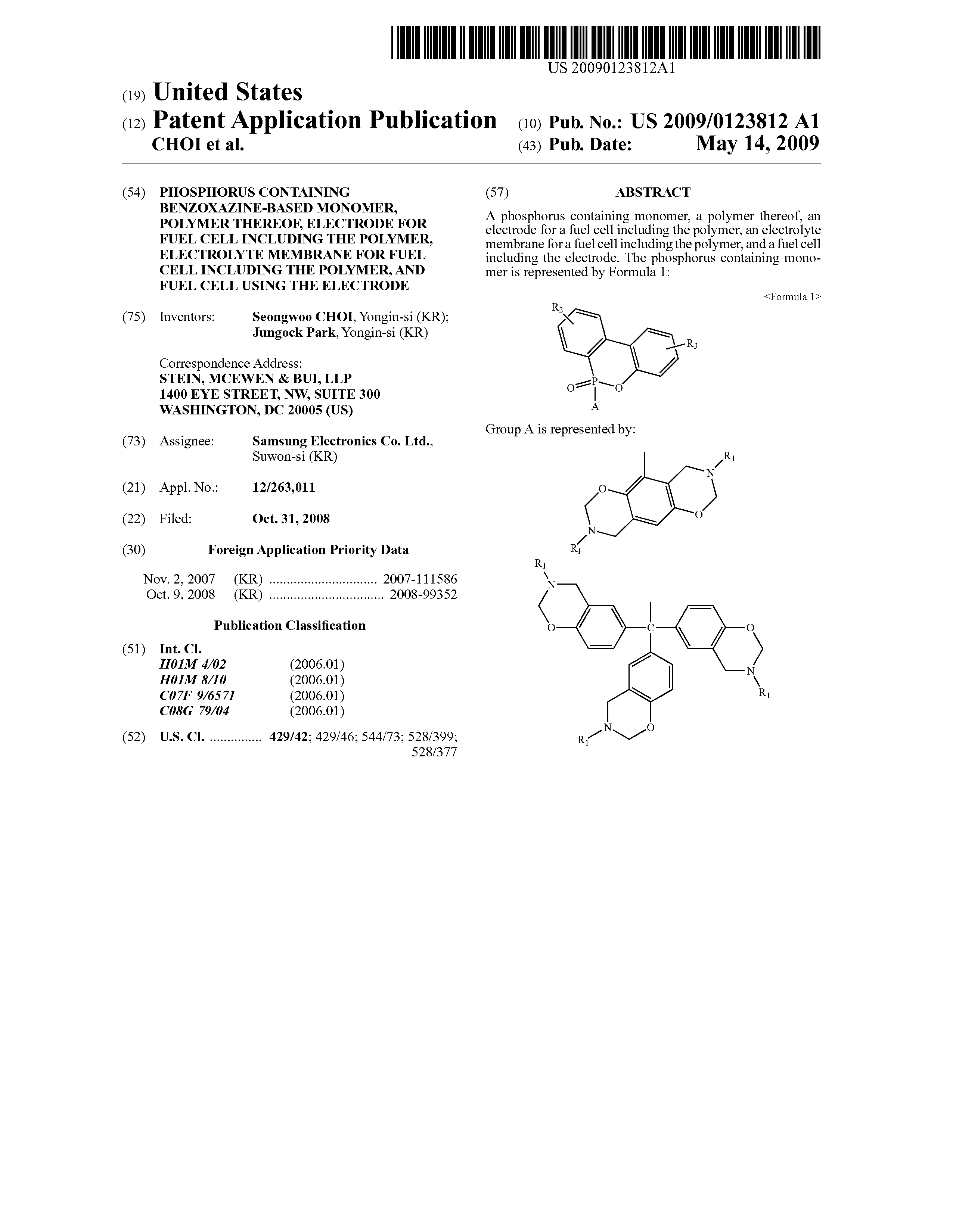 US 2009/0123812 A1 - Phosphorus Containing Benzoxazine-based Monomer