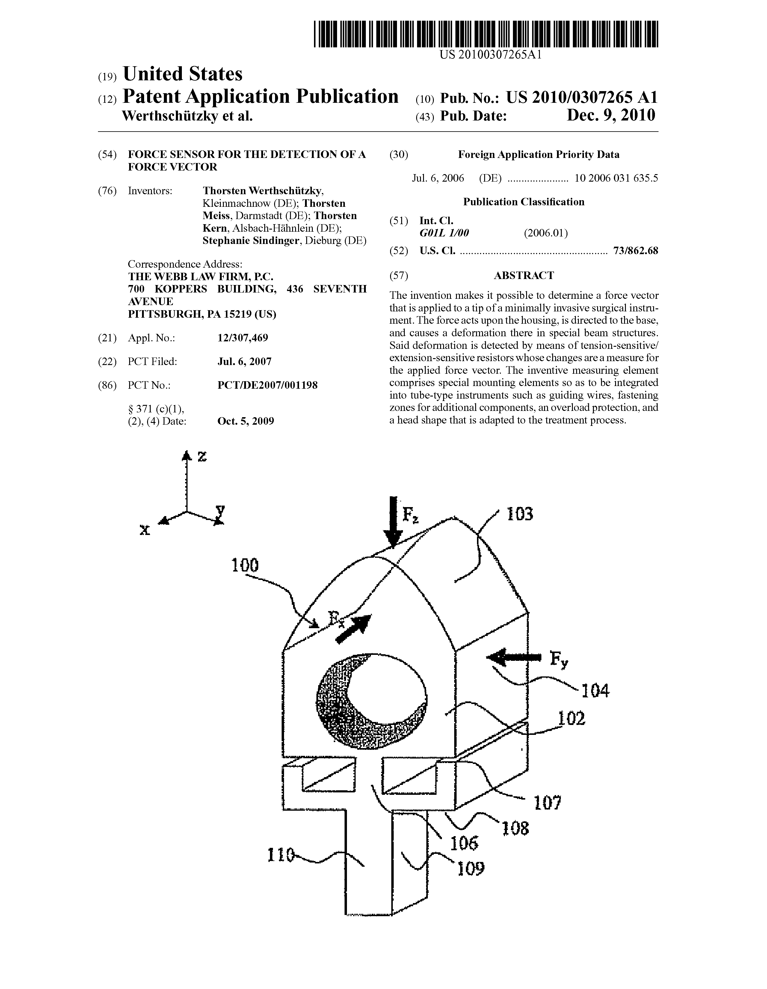 EP 2040636 A2 - Force Sensor For The Detection Of A Force