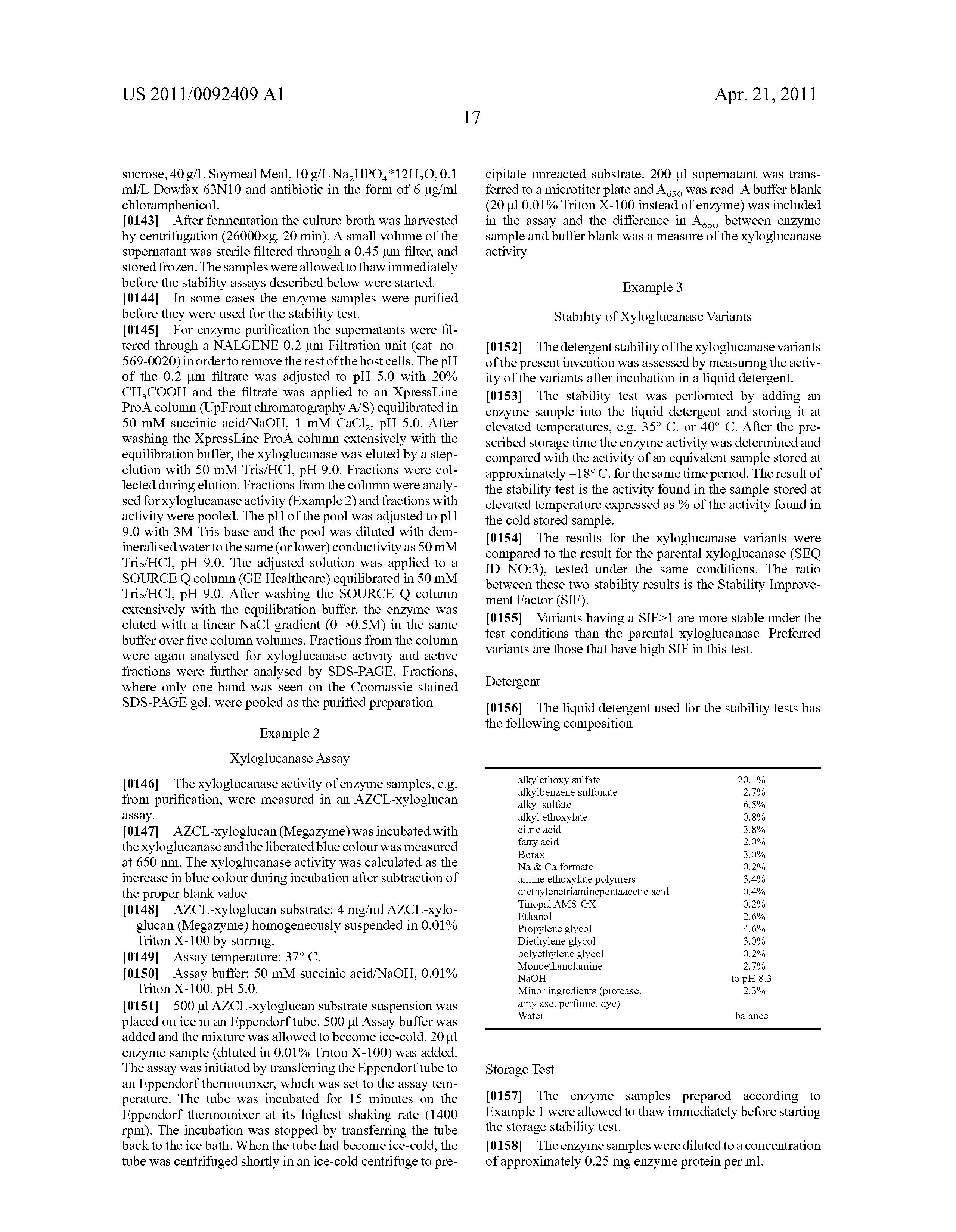 US 2011/0092409 A1 - Variants Of A Family 44 Xyloglucanase