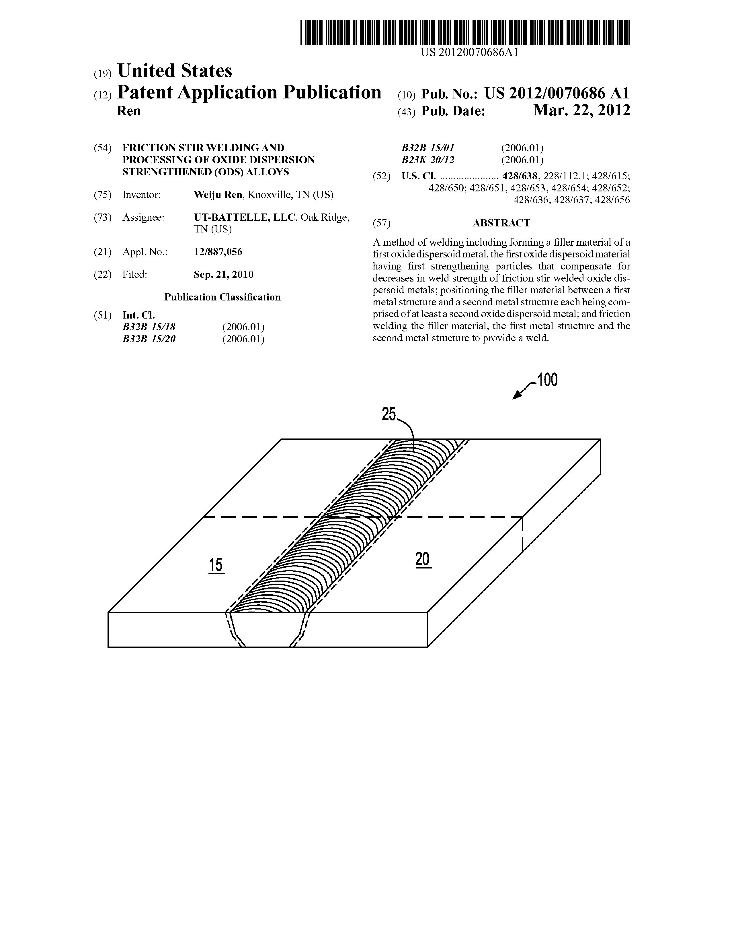 Us 2012 0070686 A1 Friction Stir Welding And Processing Of Oxide Diagram Page 1 13