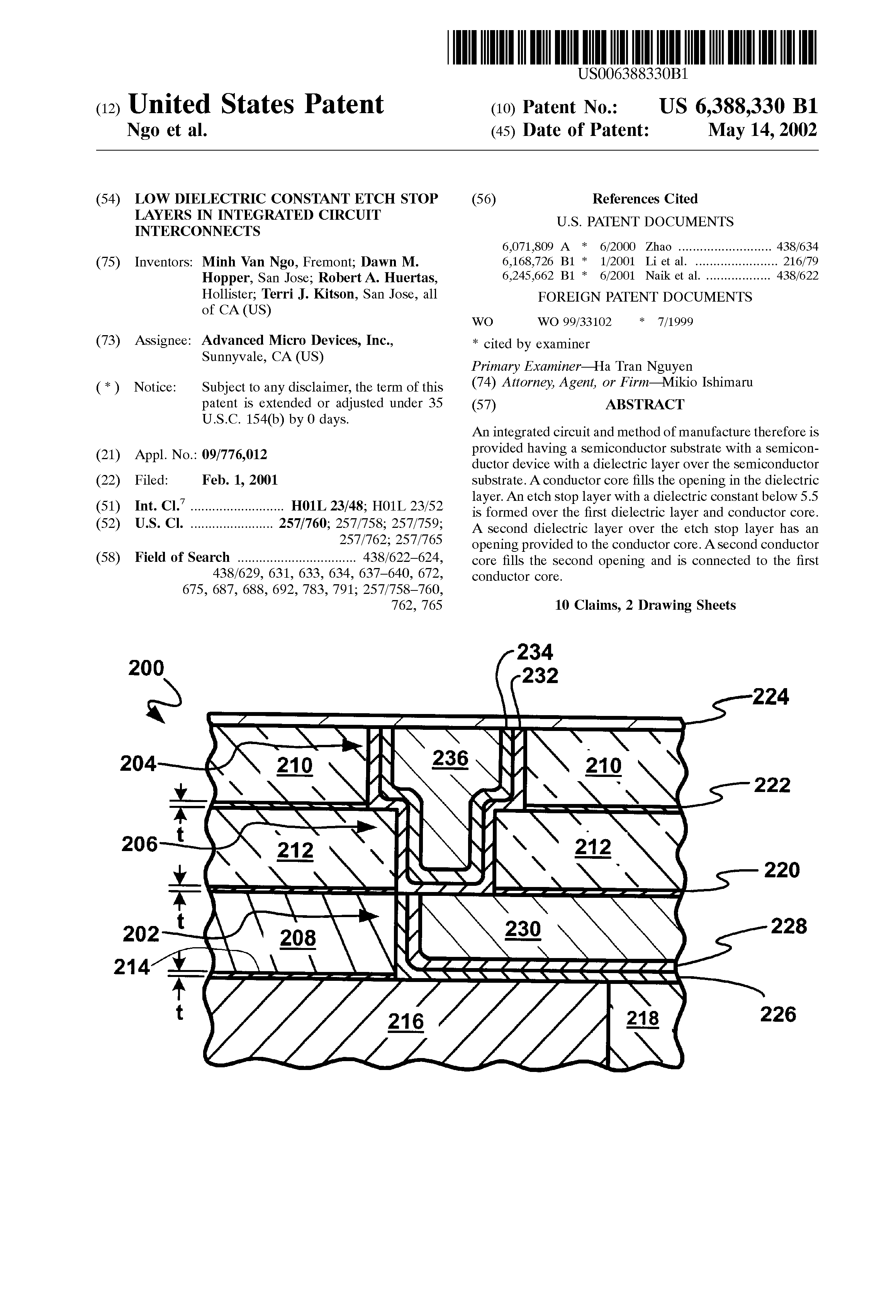Us 6388330 B1 Low Dielectric Constant Etch Stop Layers In What Is An Integrated Circuit 7 Page 1