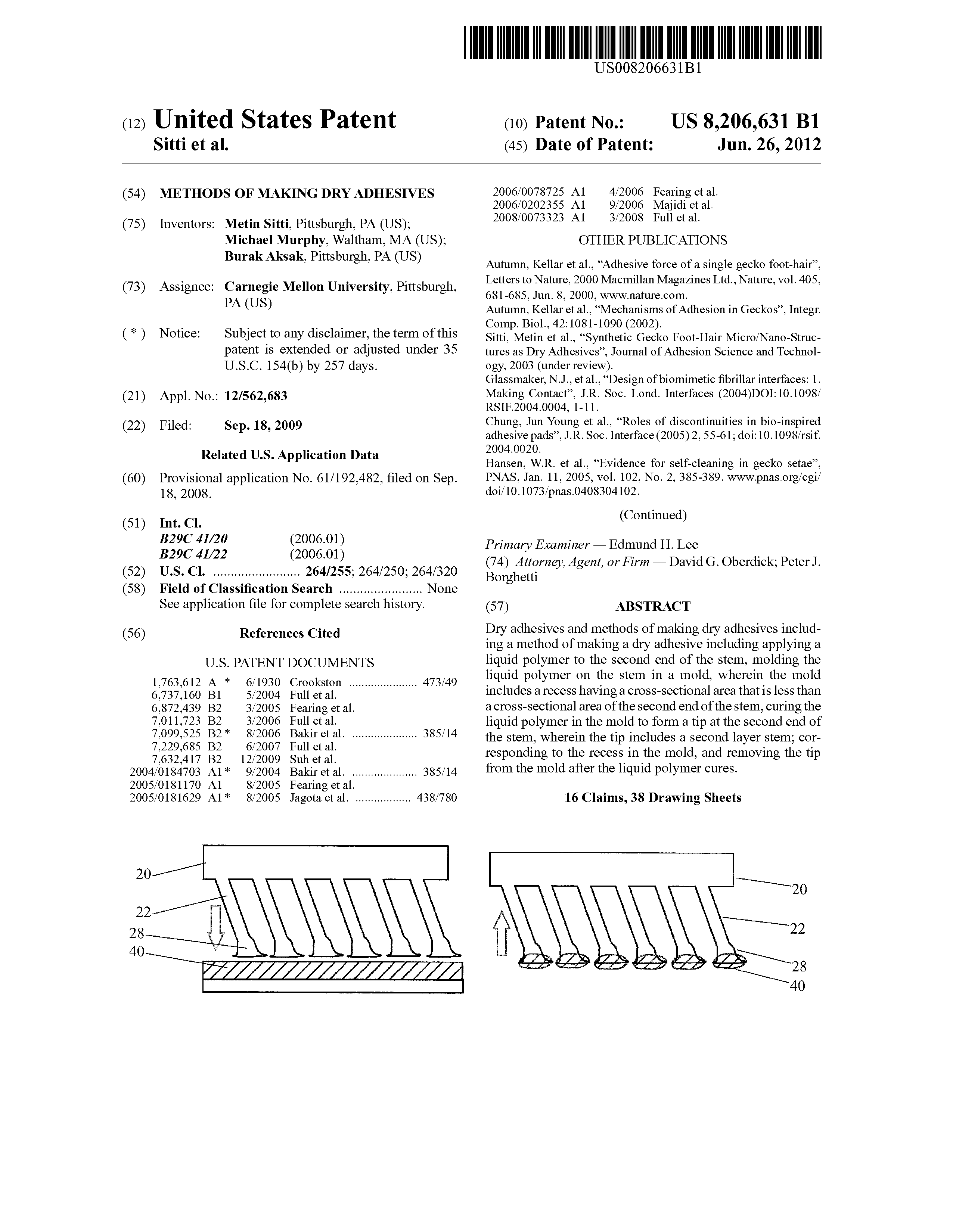 US 8206631 B1 - Methods Of Making Dry Adhesives - The Lens