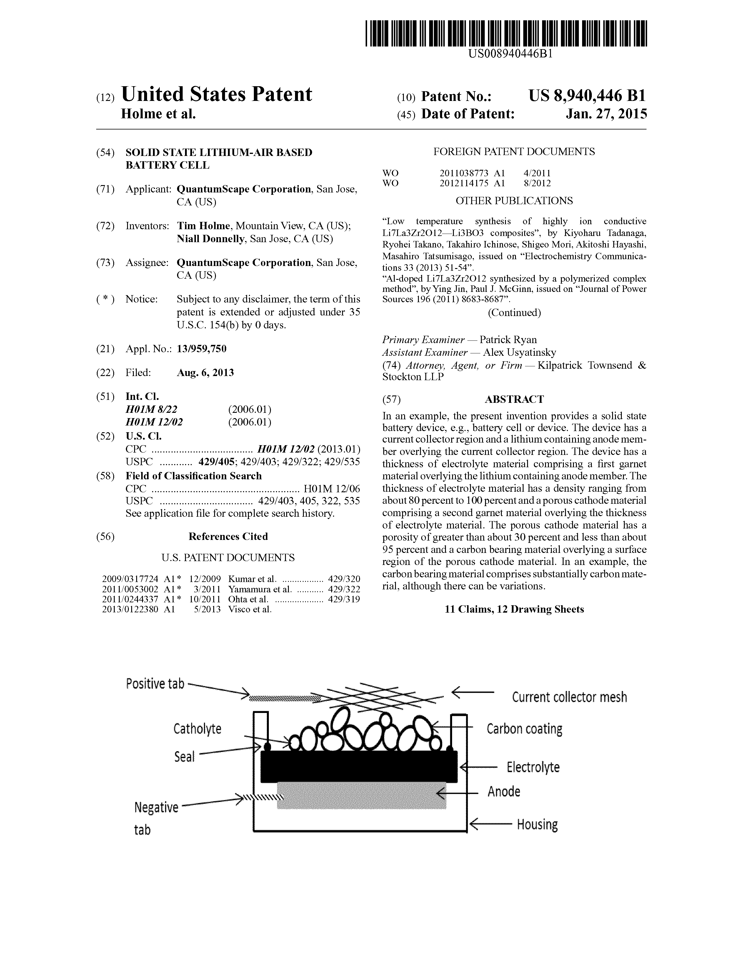 US 8940446 B1 - Solid State Lithium-air Based Battery Cell