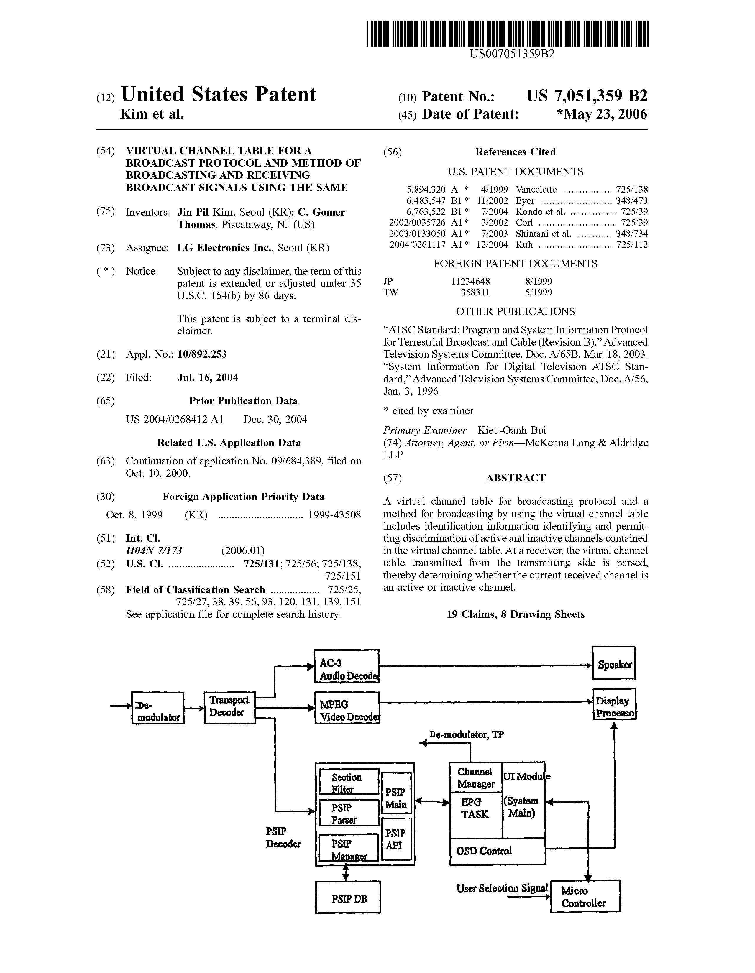 US 7051359 B2 - Virtual Channel Table For A Broadcast