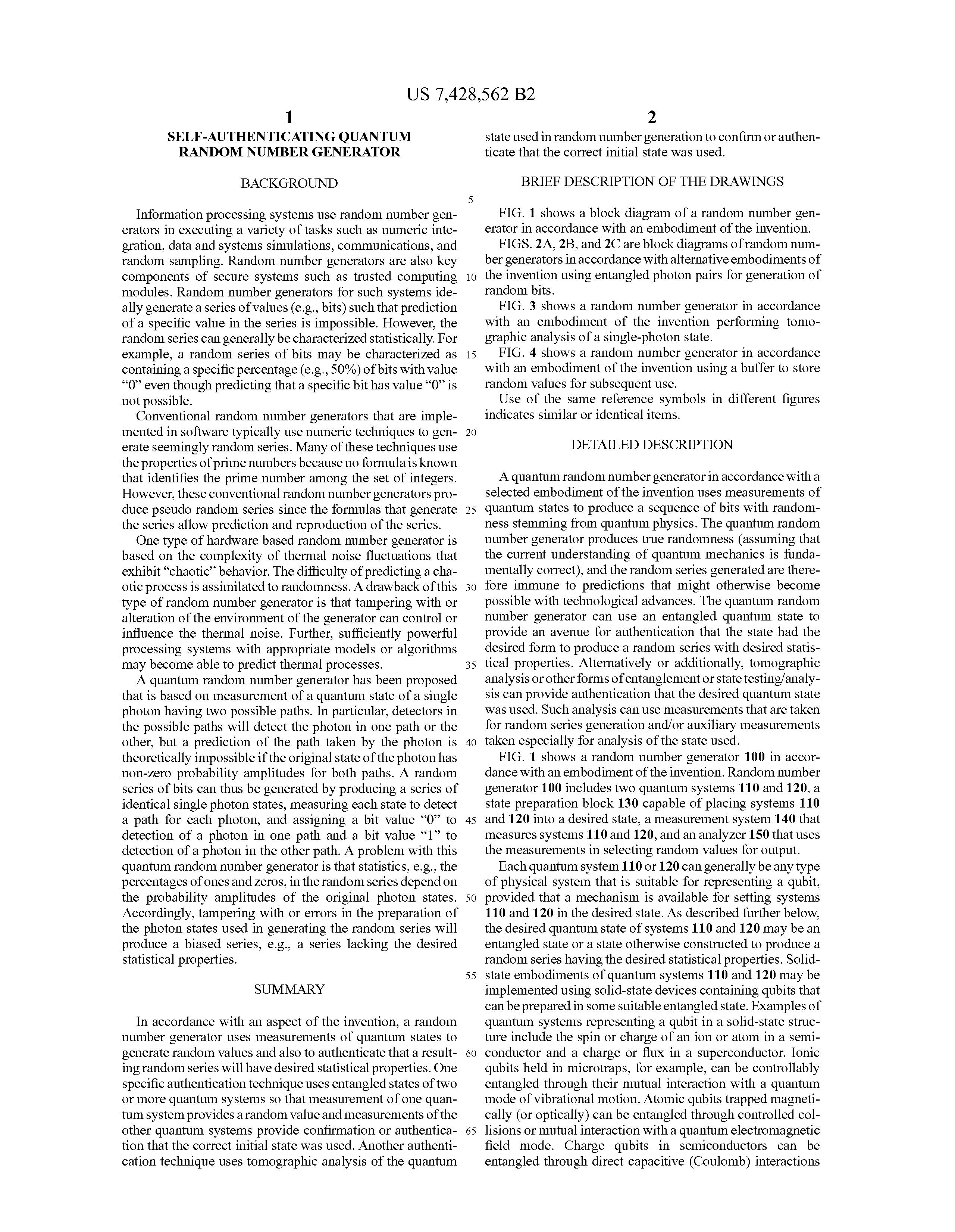 US 7428562 B2 - Self-authenticating Quantum Random Number Generator
