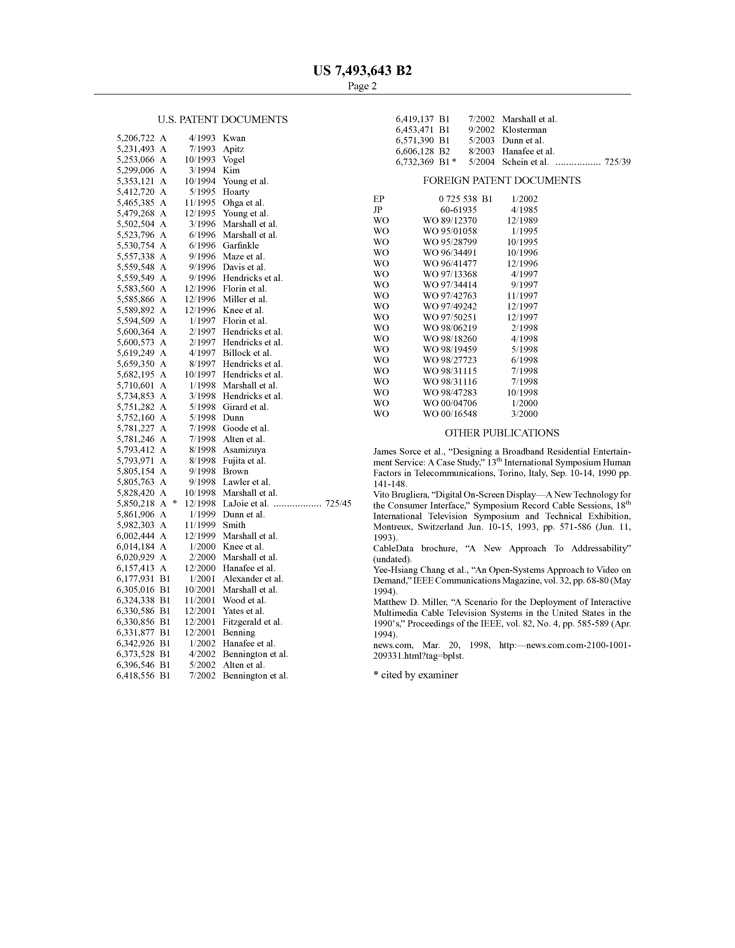 US 7493643 B2 - Program Guide System With Video-on-demand