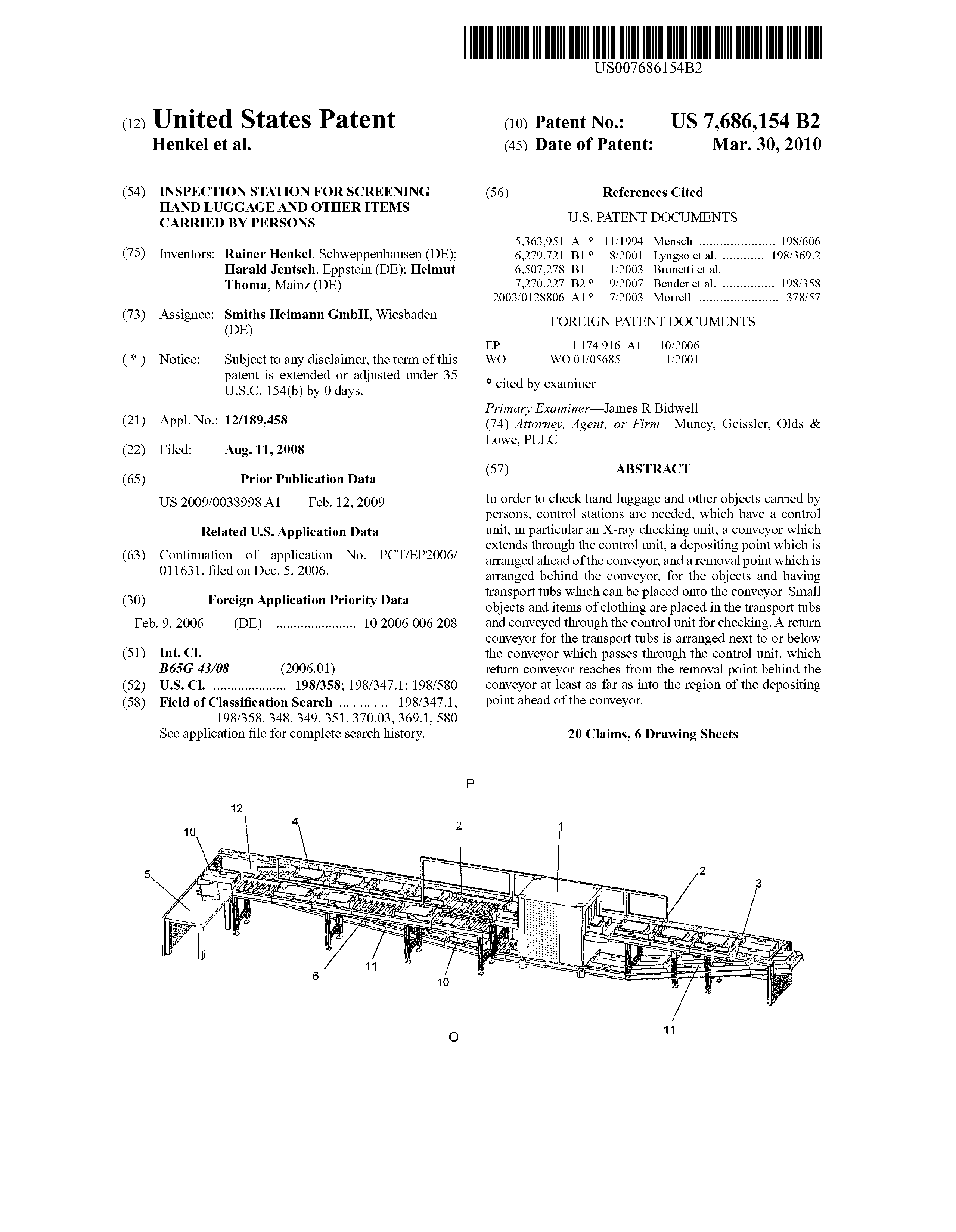 US 7686154 B2 - Inspection Station For Screening Hand