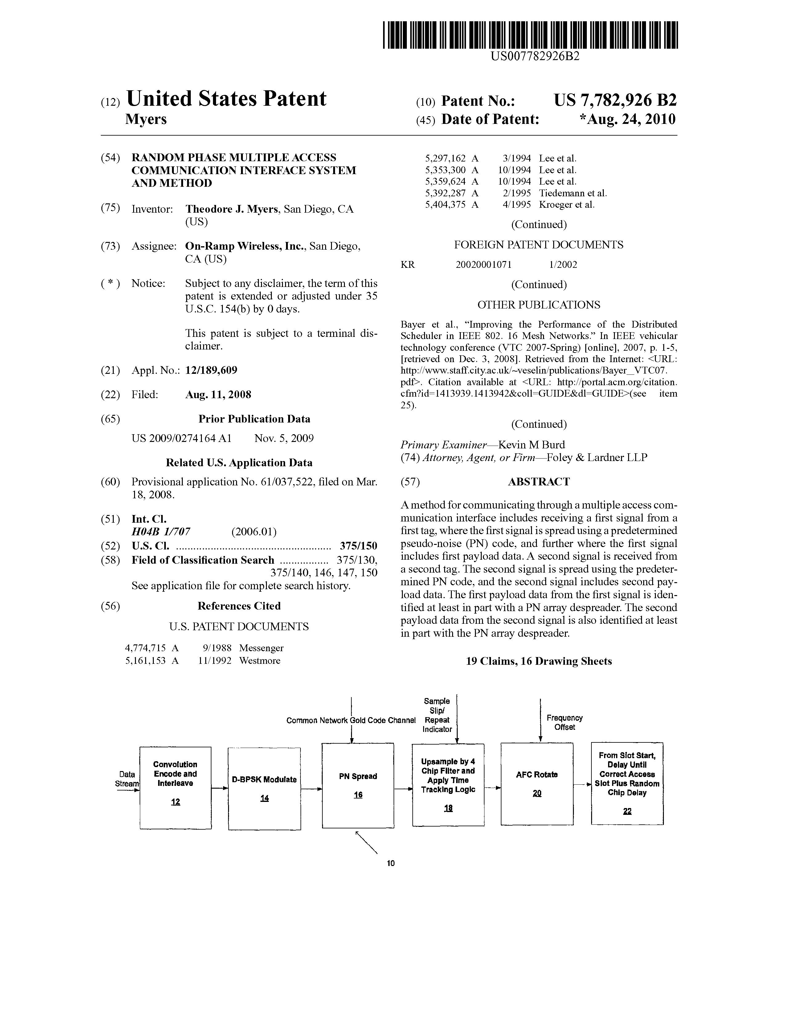 US 7782926 B2 - Random Phase Multiple Access Communication