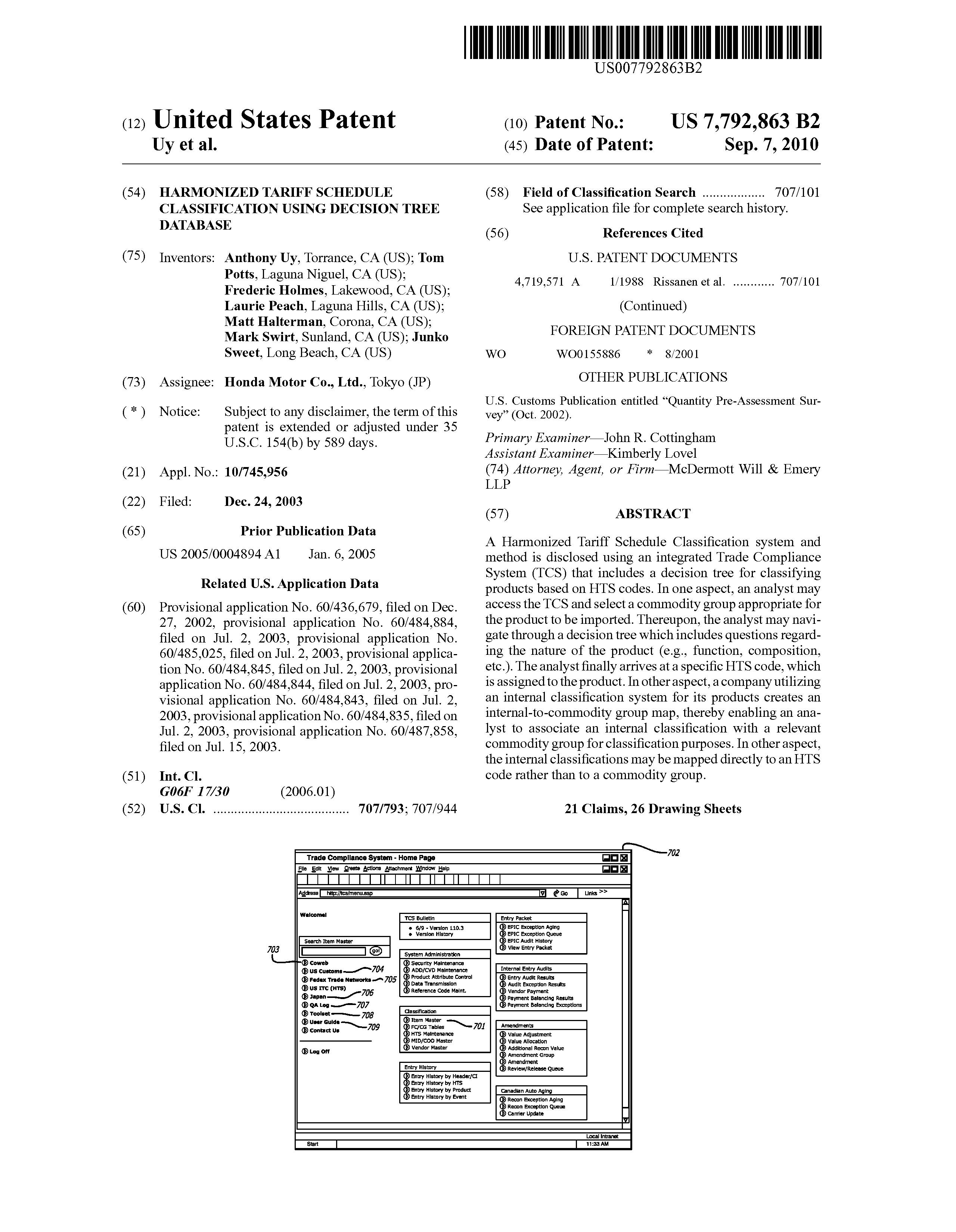 US 7792863 B2 - Harmonized Tariff Schedule Classification