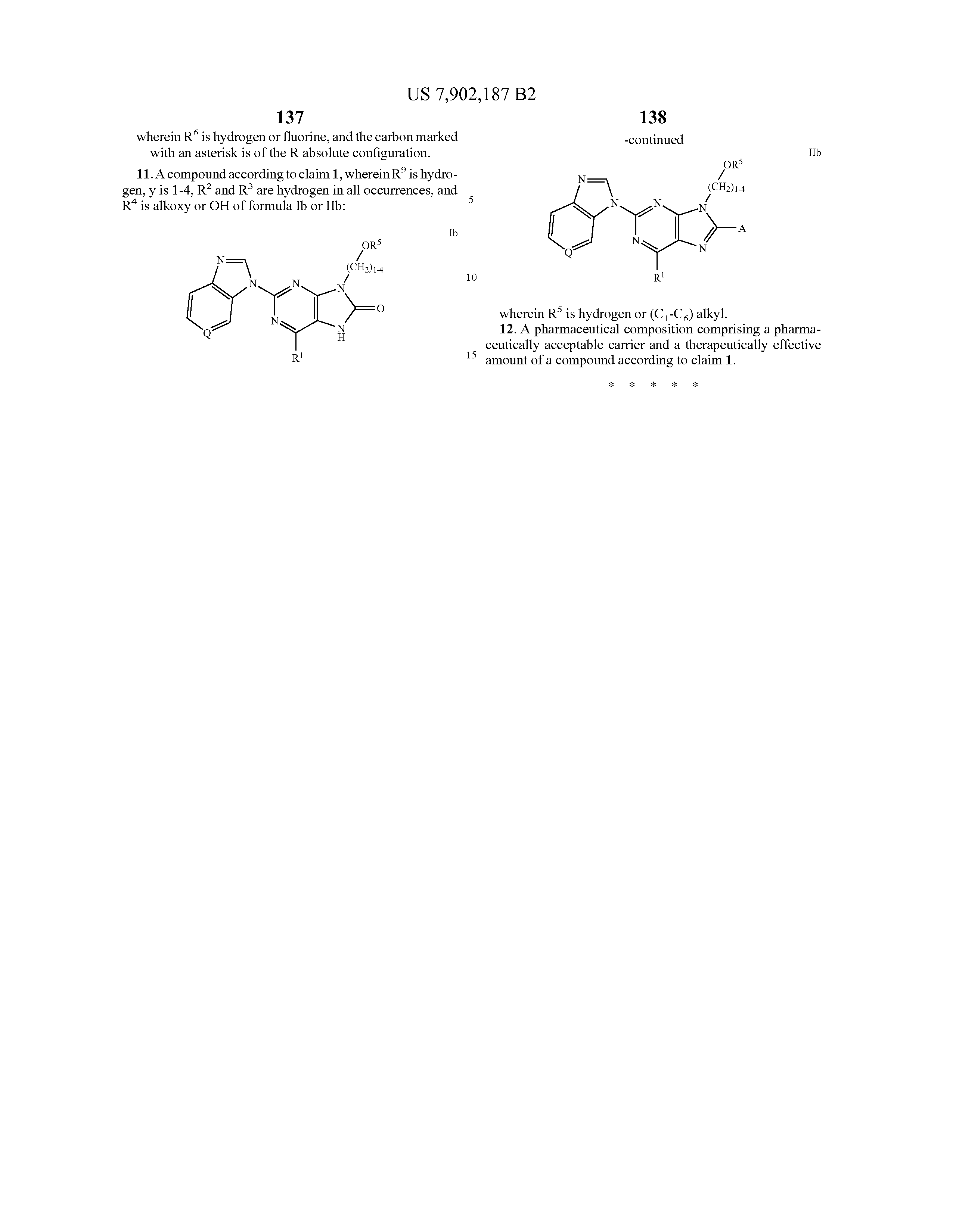 US 7902187 B2 - 6-substituted 2-(benzimidazolyl)purine And