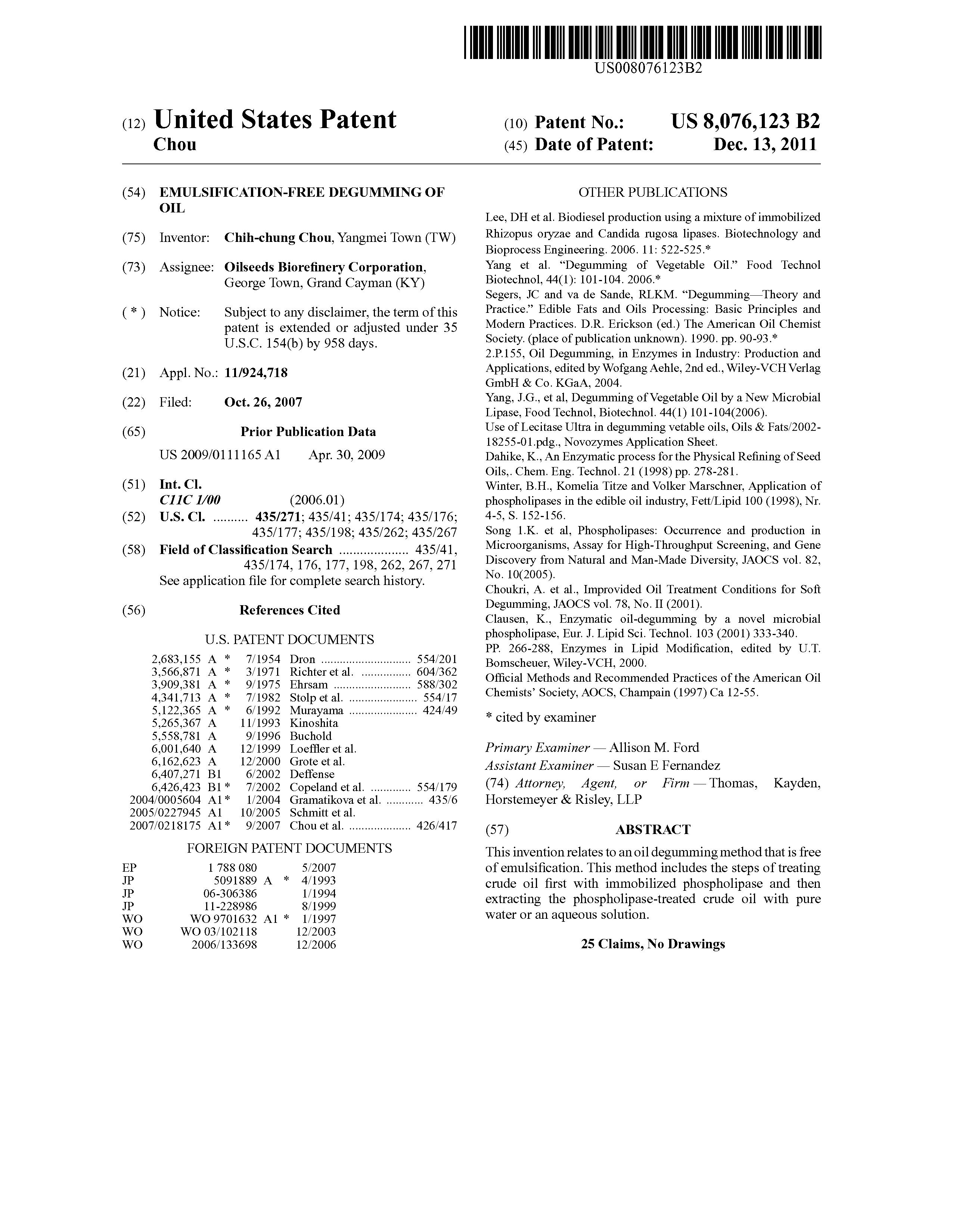 US 8076123 B2 - Emulsification-free Degumming Of Oil - The