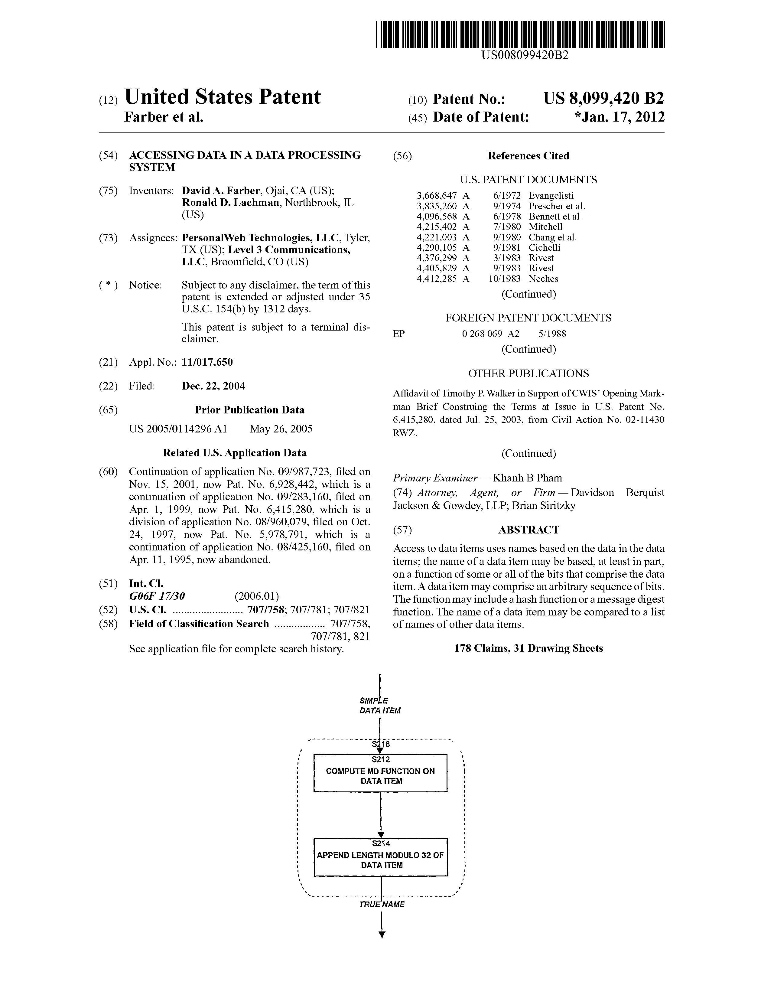 Us 8099420 B2 Accessing Data In A Data Processing System The