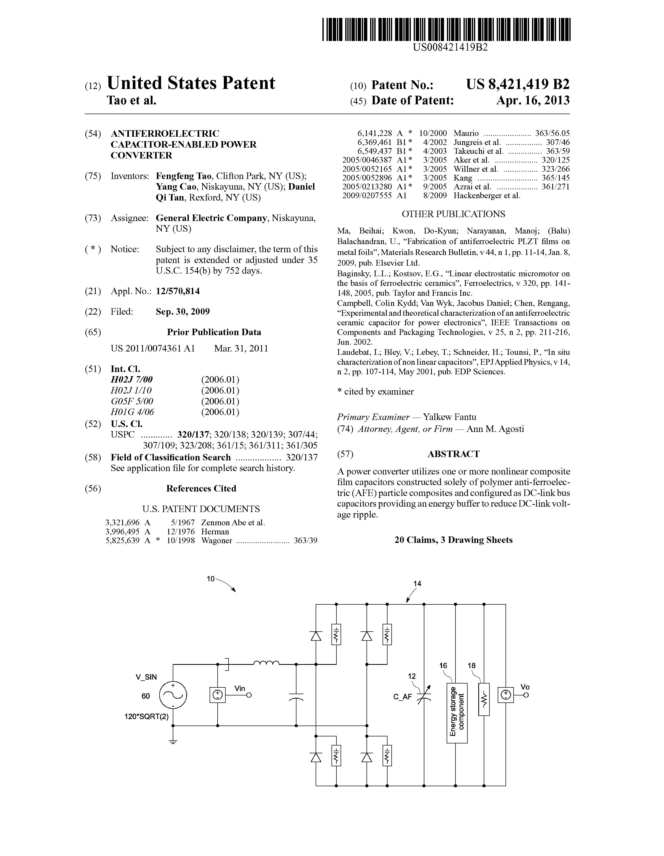 US 8421419 B2 - Antiferroelectric Capacitor-enabled Power