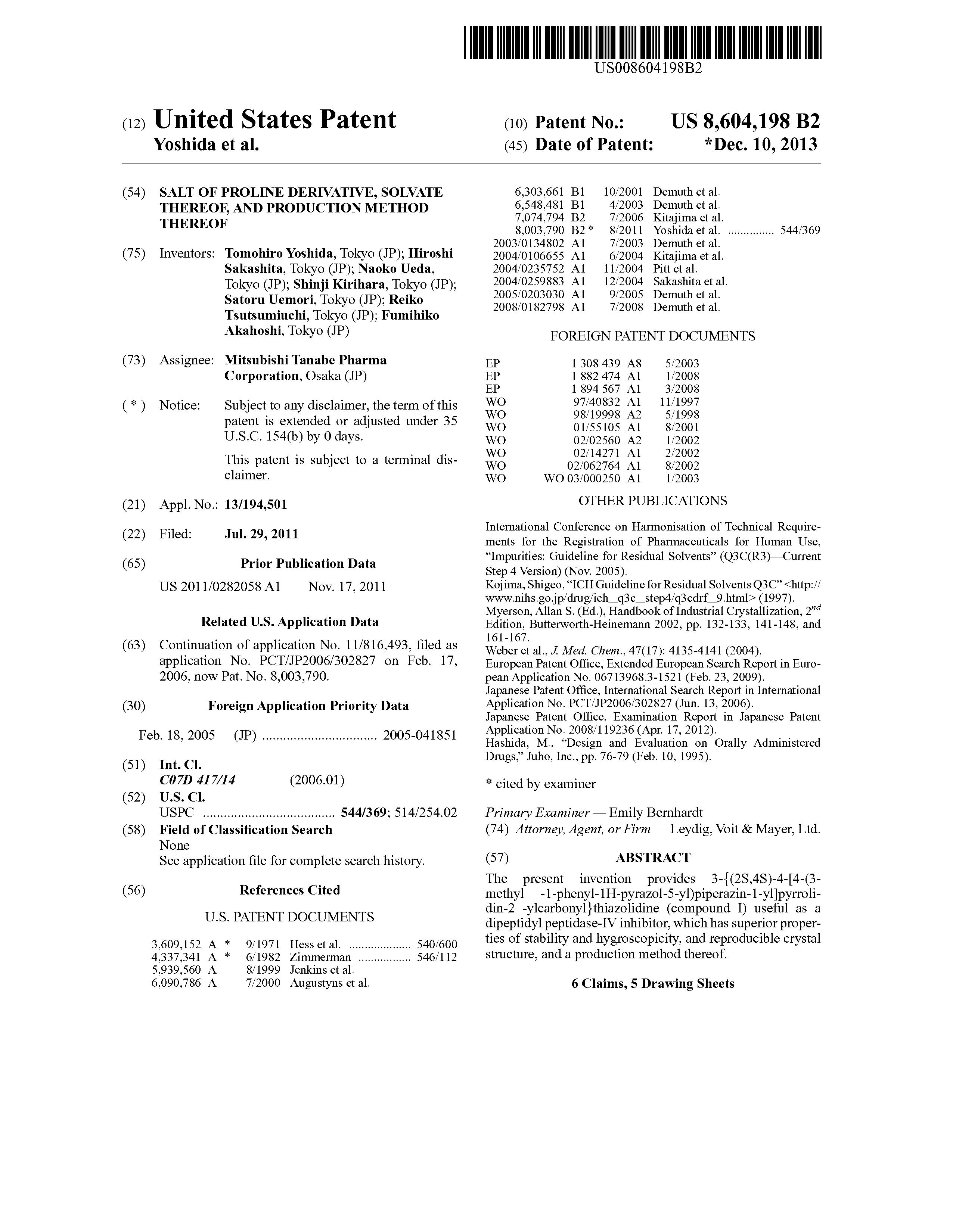 US 8604198 B2 - Salt Of Proline Derivative, Solvate Thereof