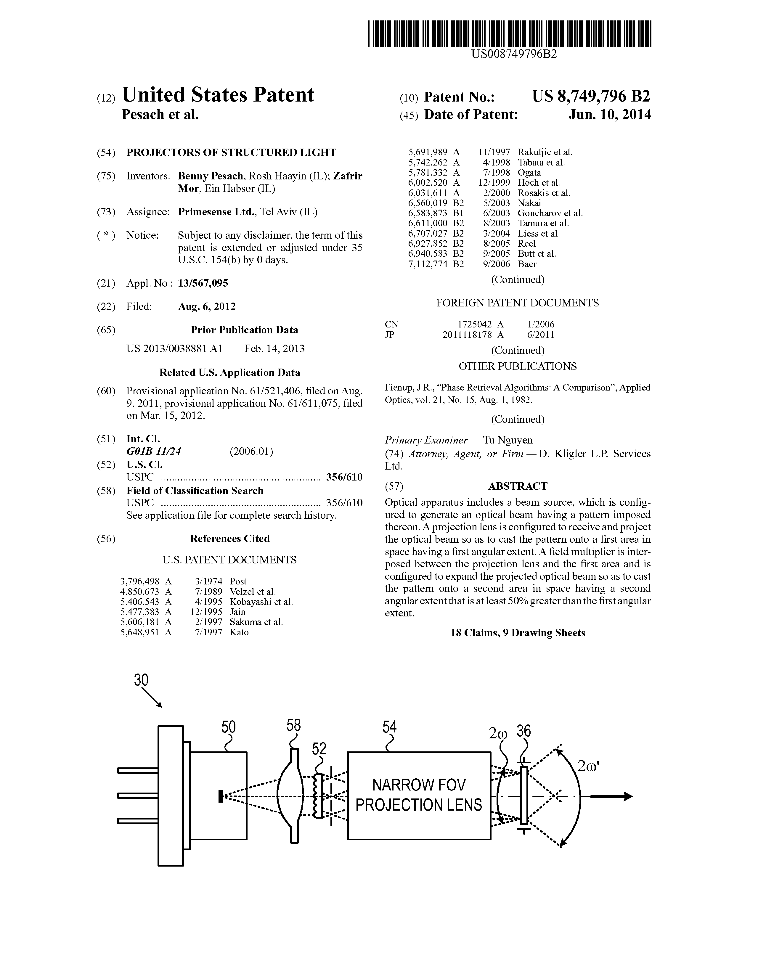 US 8749796 B2 - Projectors Of Structured Light - The Lens - Free