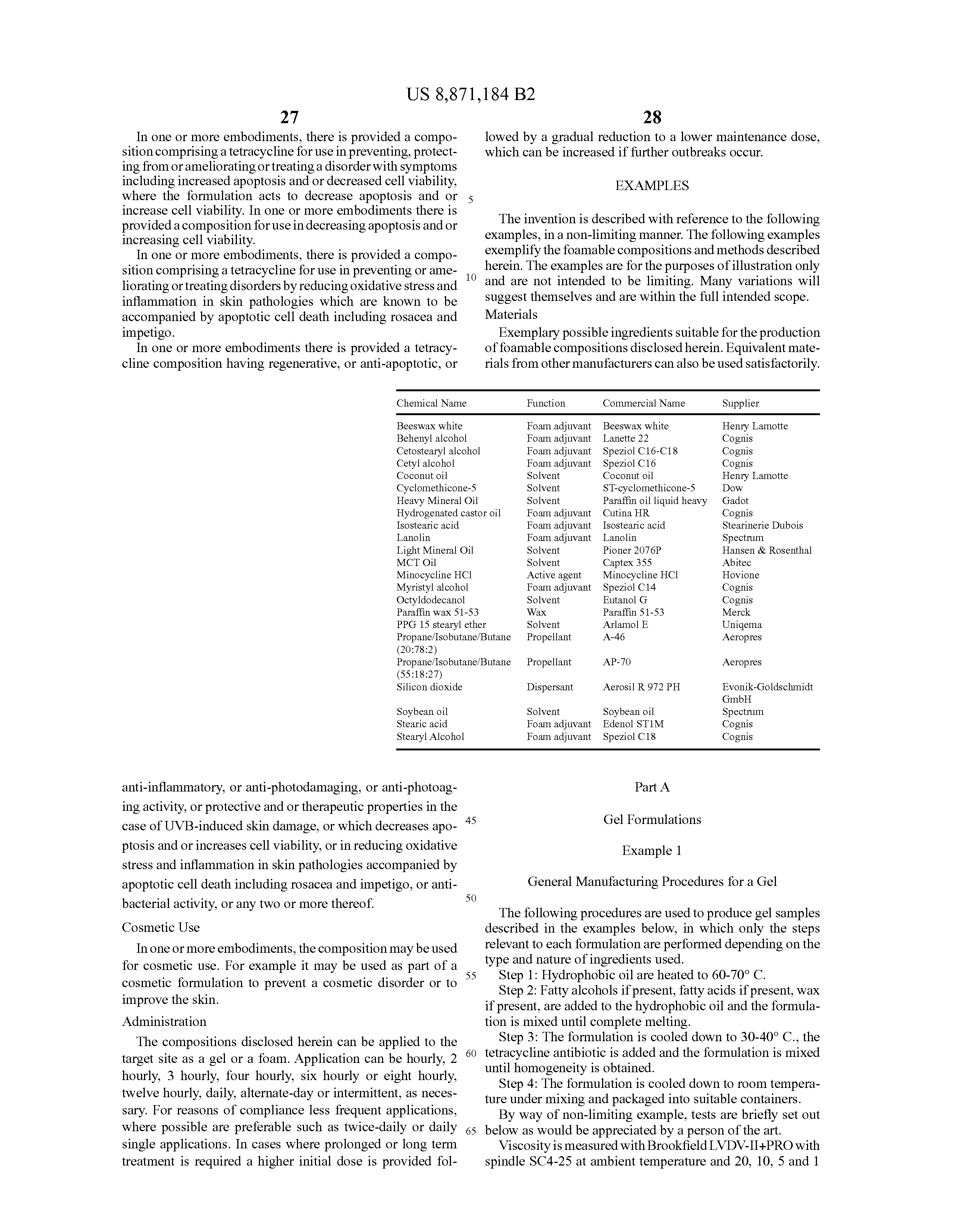 US 8871184 B2 - Topical Tetracycline Compositions - The Lens