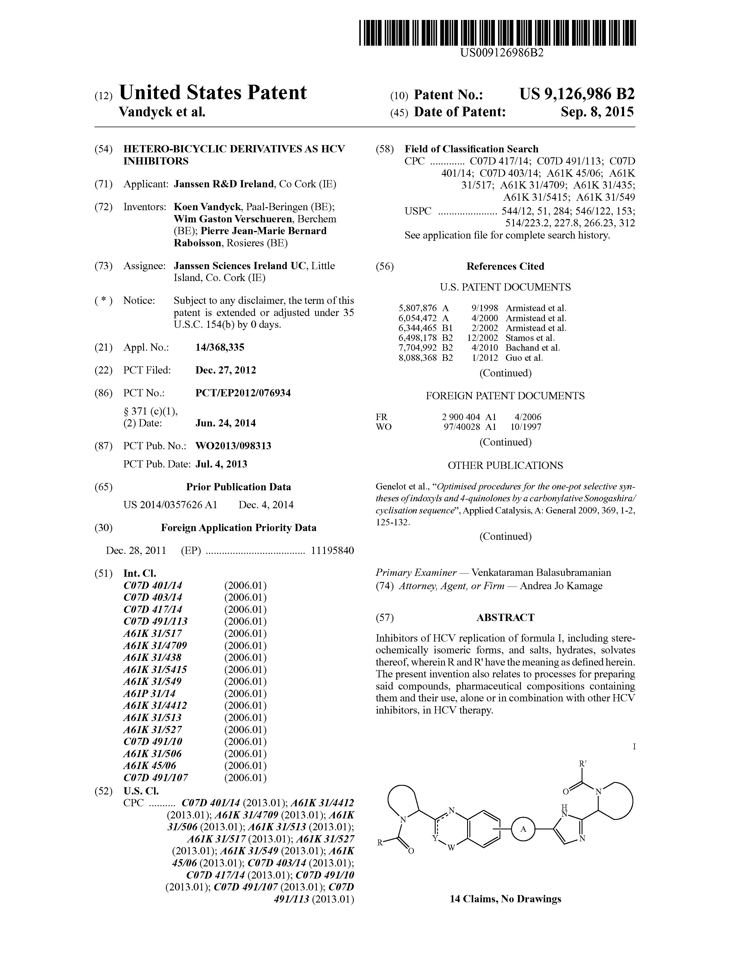 US 9126986 B2 - Hetero-bicyclic Derivatives As Hcv Inhibitors - The