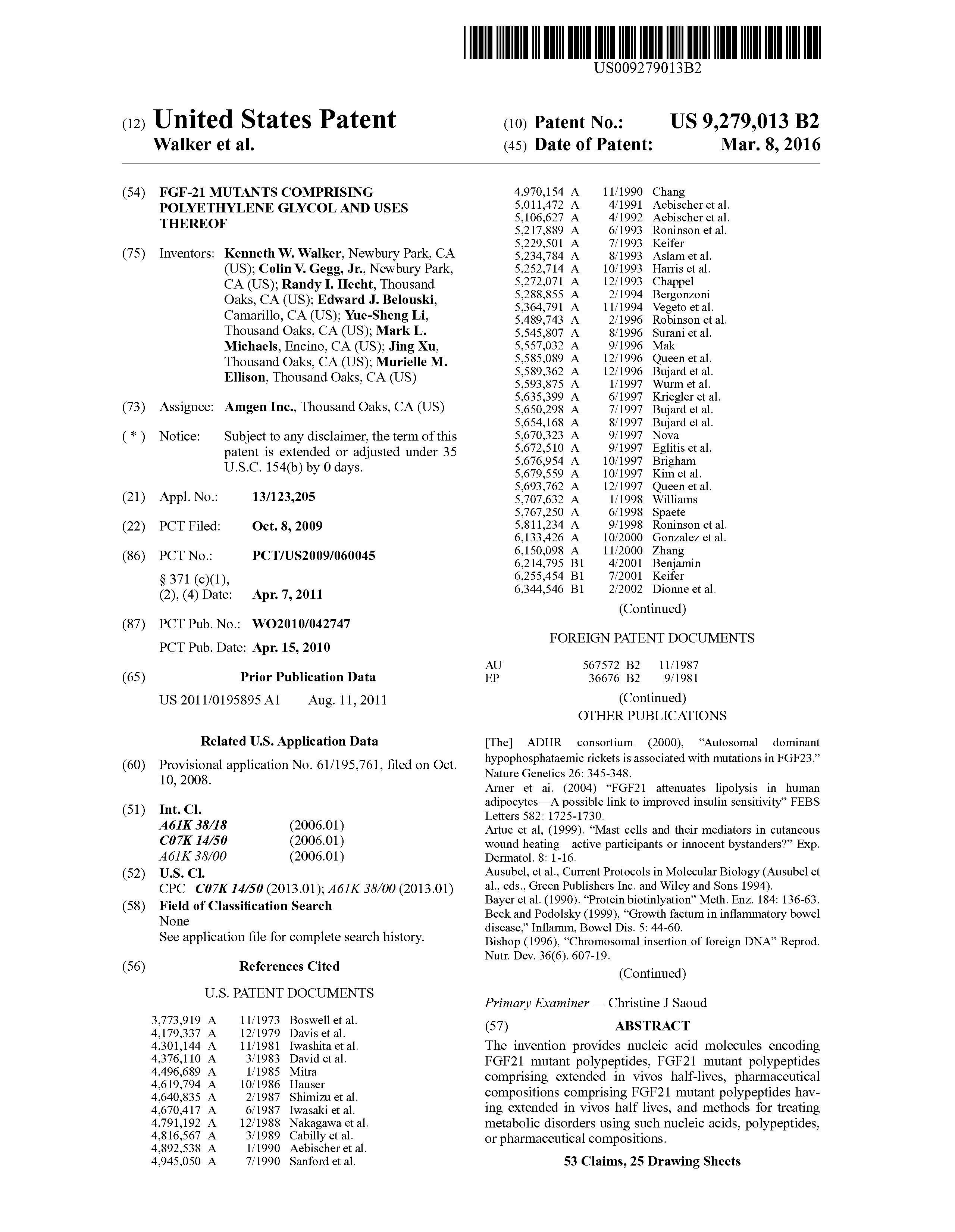 US 9279013 B2 - Fgf-21 Mutants Comprising Polyethylene