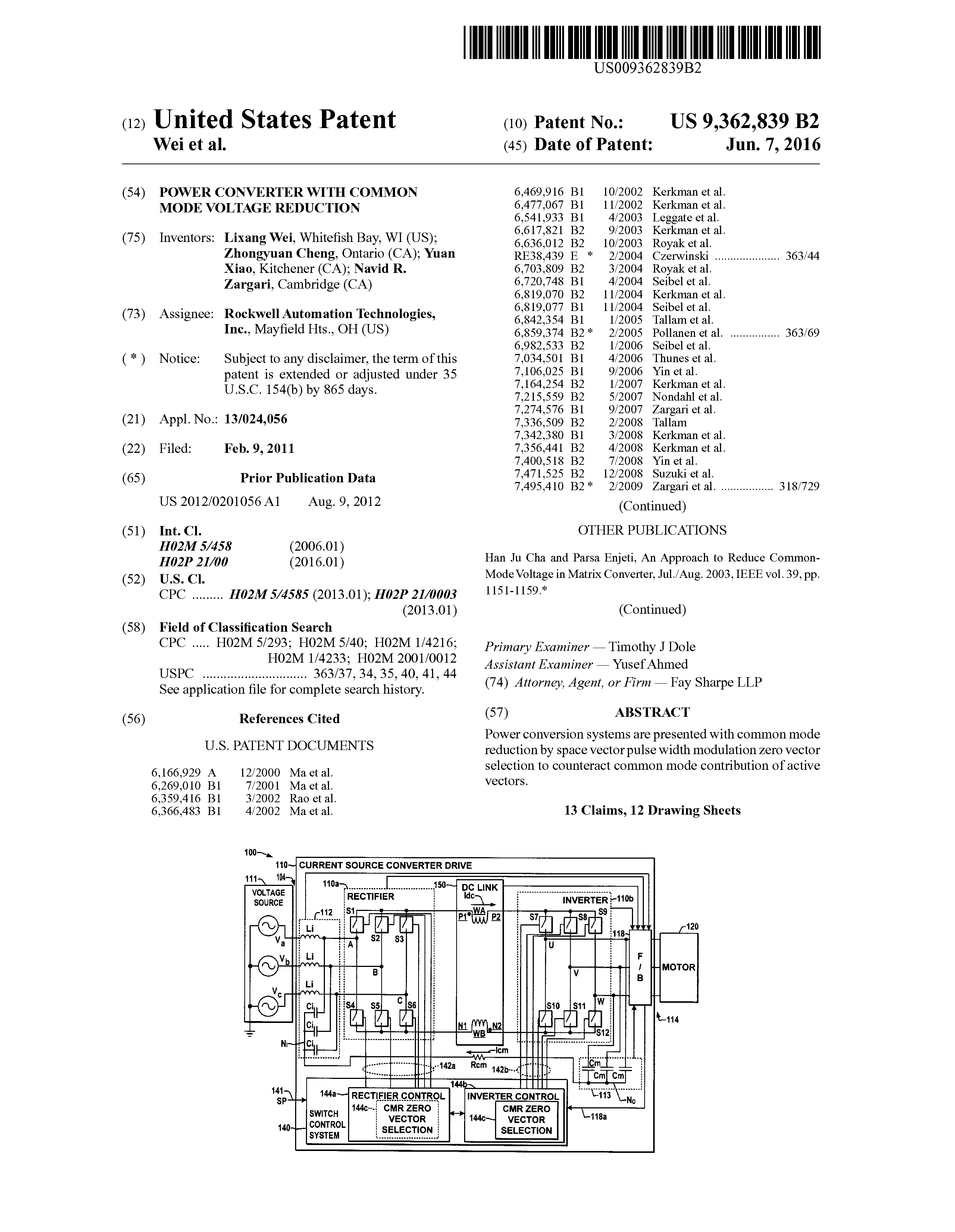 US 9362839 B2 - Power Converter With Common Mode Voltage