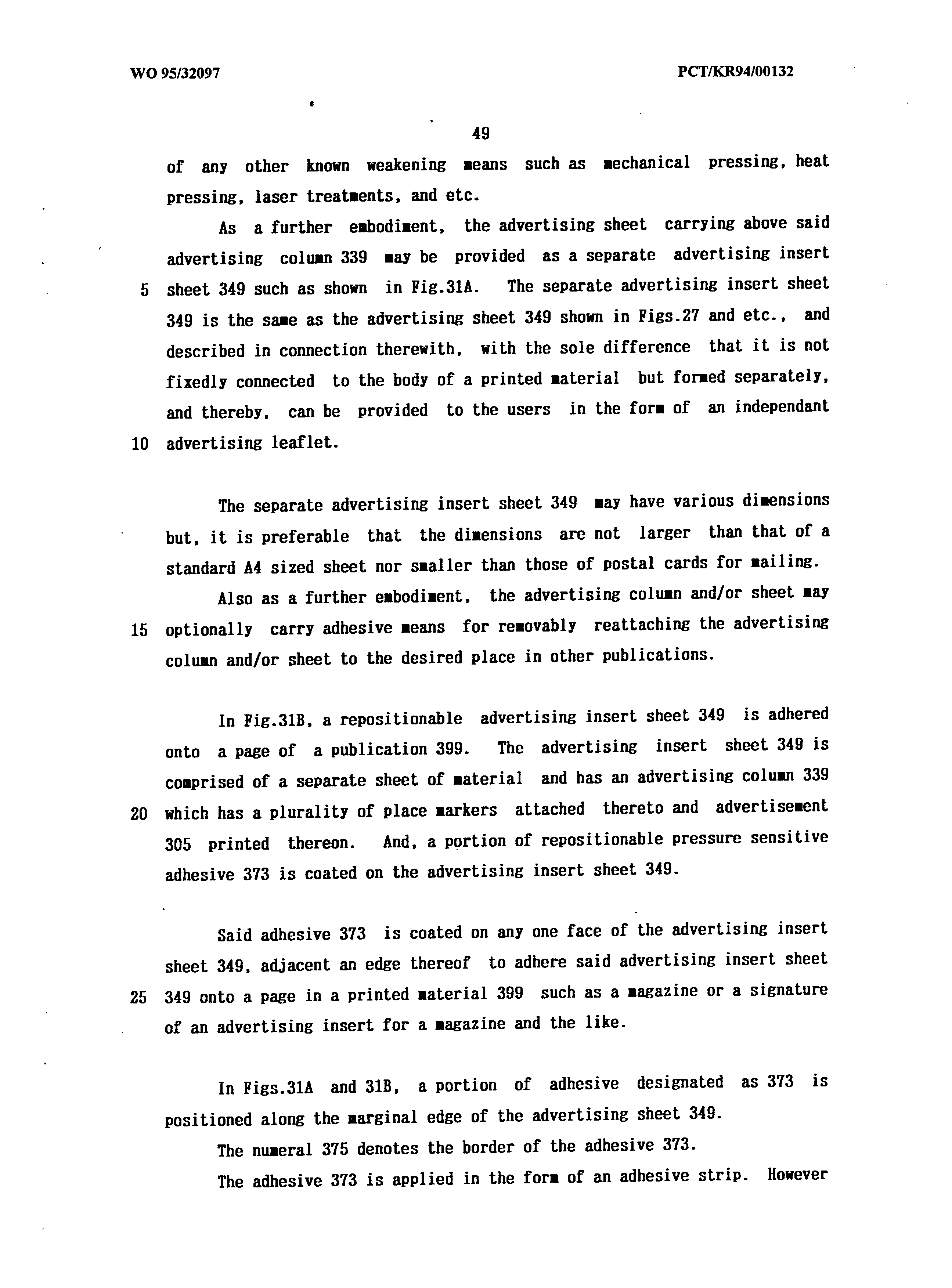 WO 1995/032097 A1 - A Place Marking Means For Printed