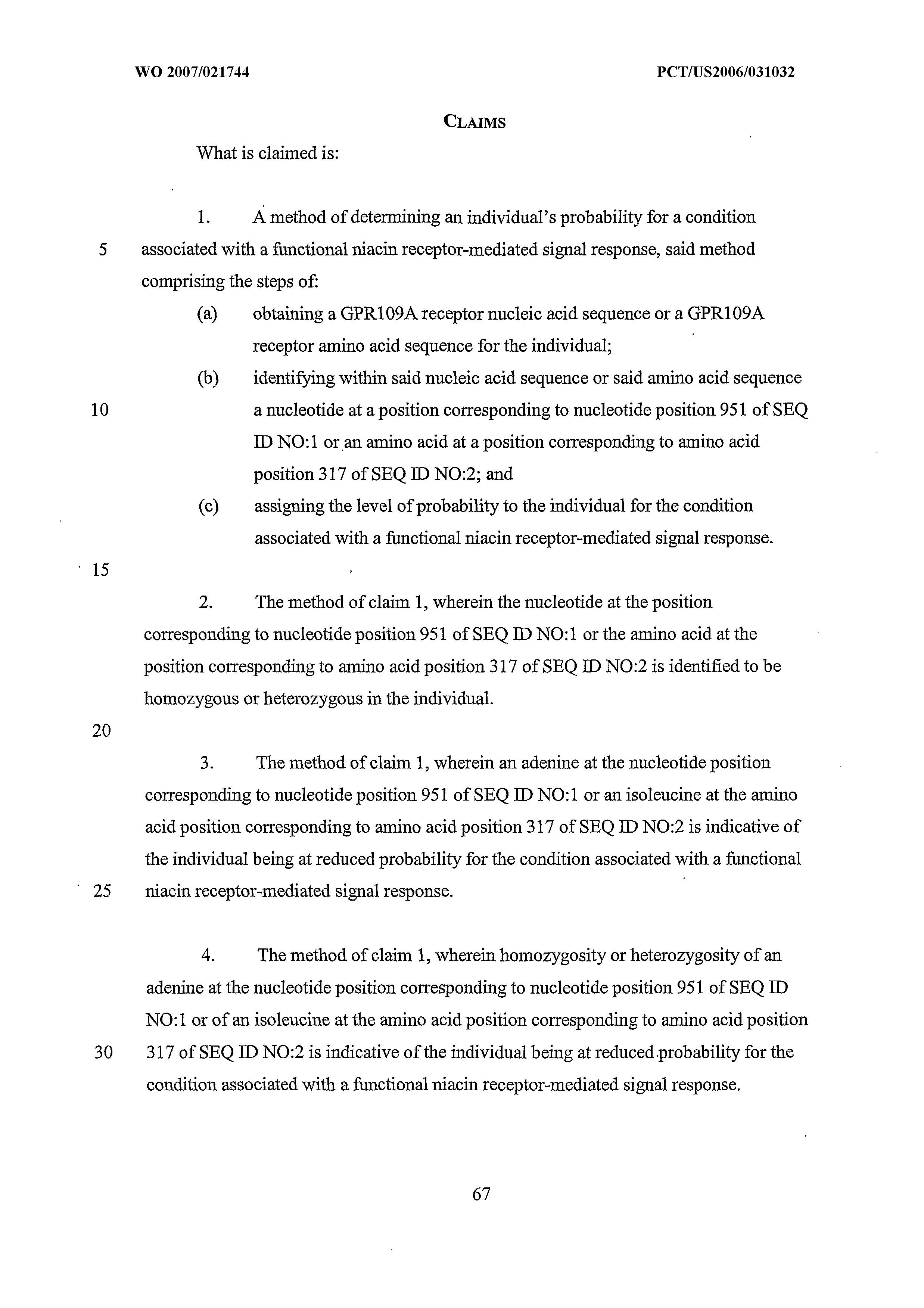 WO 2007/021744 A1 - Methods For Determining Probability Of
