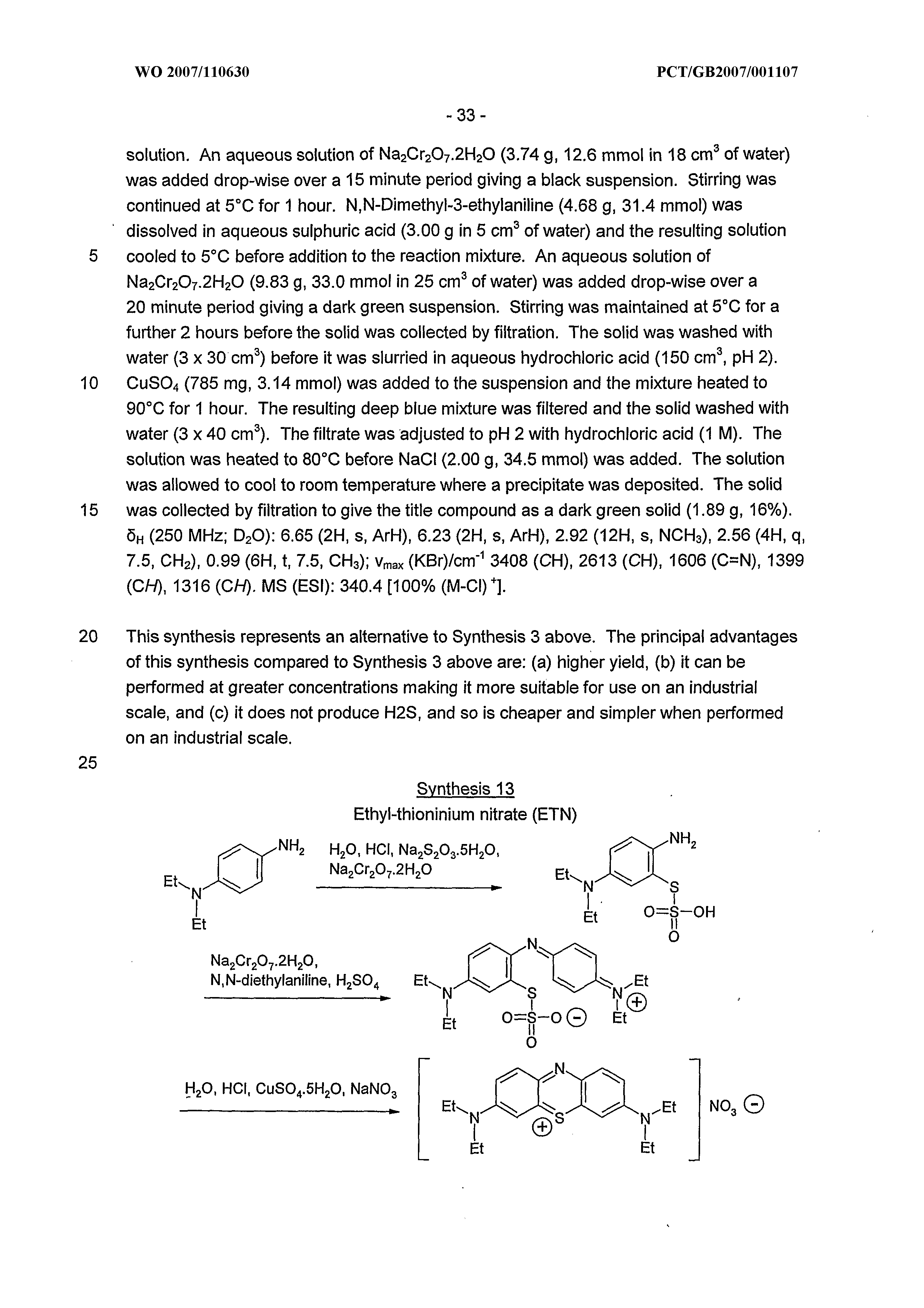 WO 2007/110630 A1 - Thioninium Compounds And Their Use - The Lens