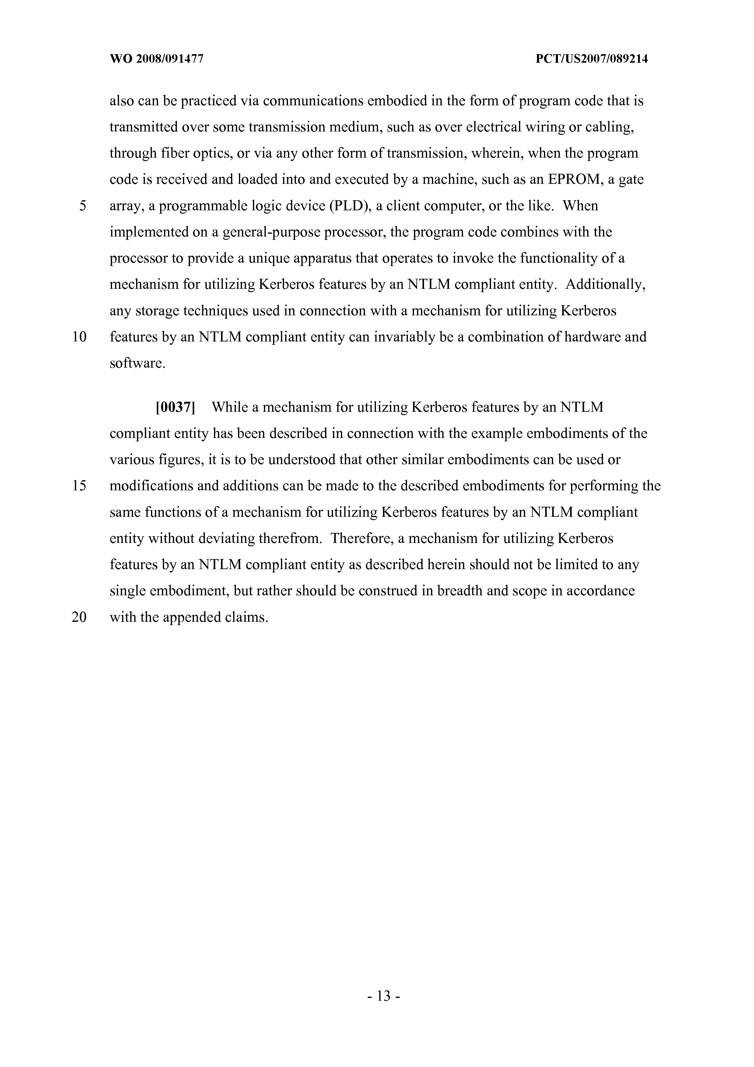 WO 2008/091477 A1 - Mechanism For Utilizing Kerberos Features By An