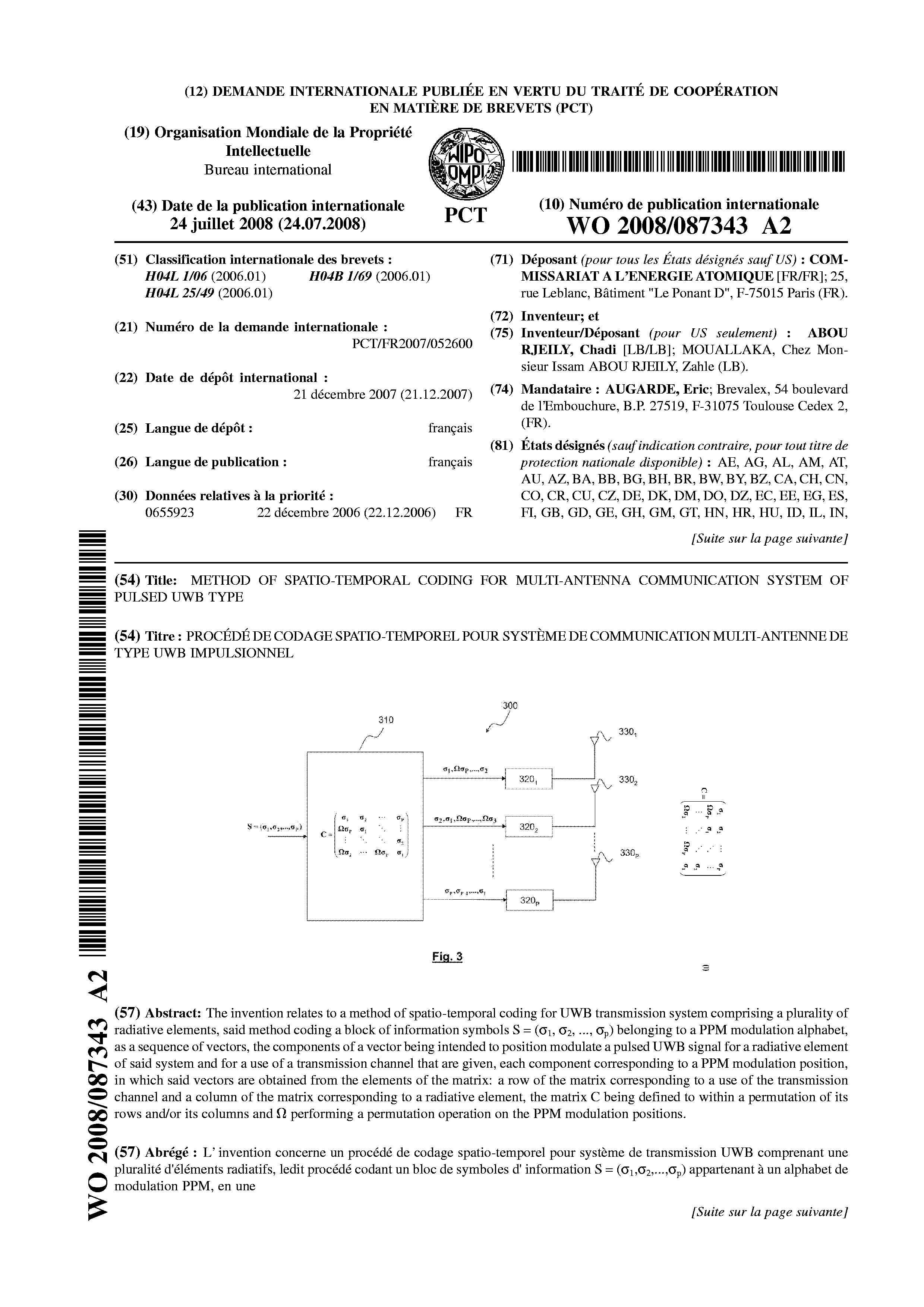 WO 2008/087343 A2 - Method Of Spatio-temporal Coding For