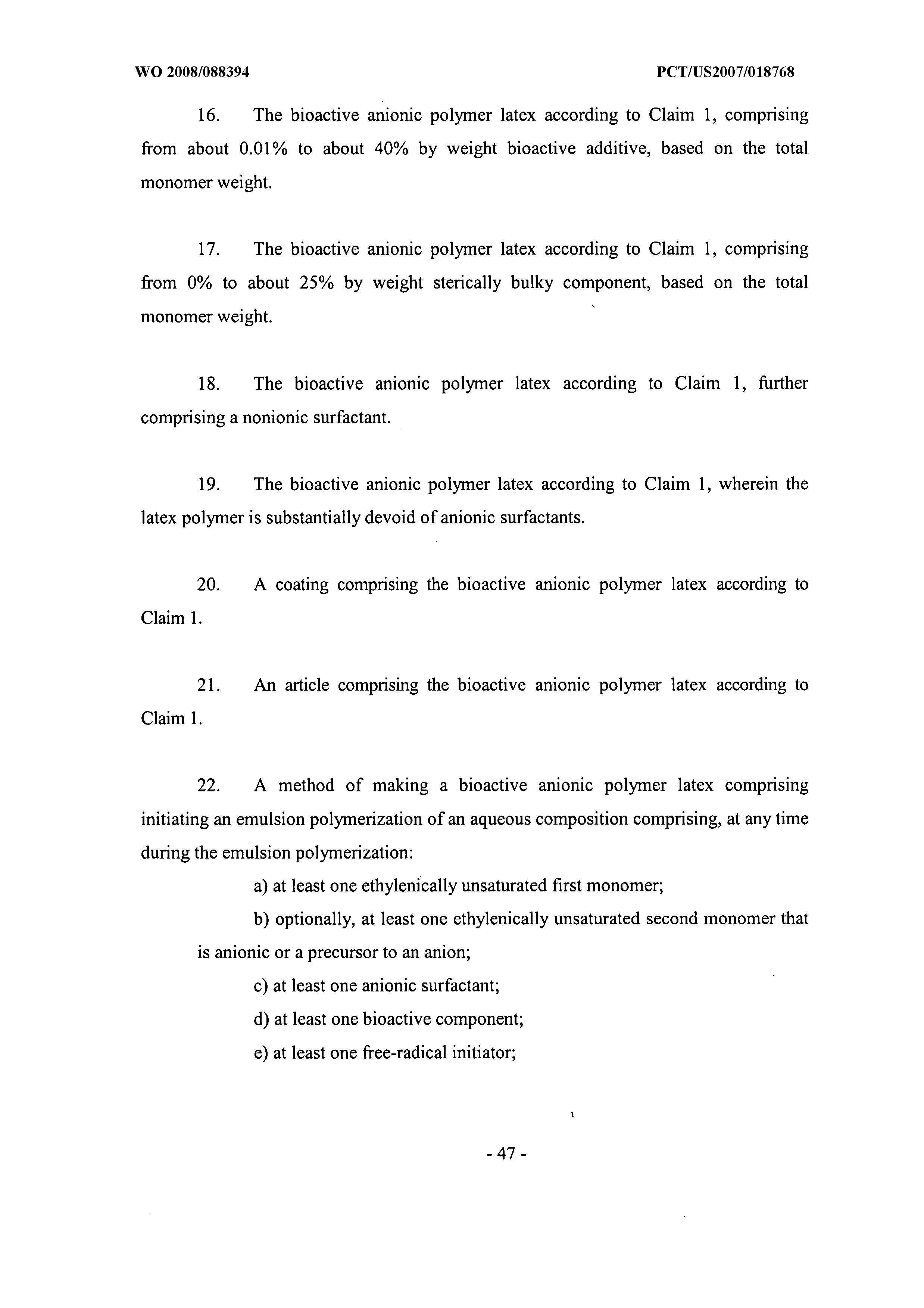 WO 2008/088394 A2 - Anionic Latex As A Carrier For Bioactive
