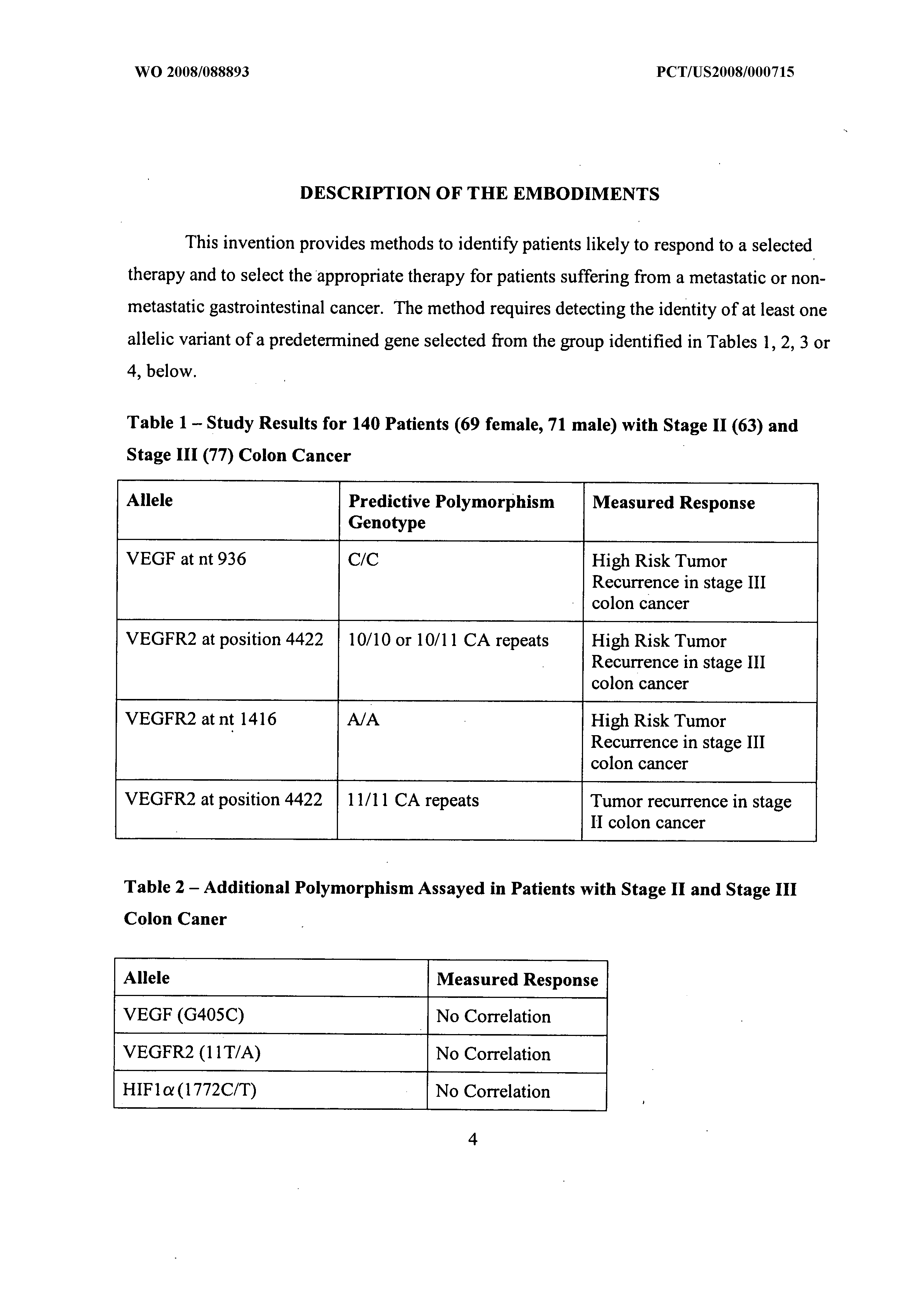 WO 2008/088893 A2 - Gene Polymorphisms In Vegf And Vegf Receptor 2