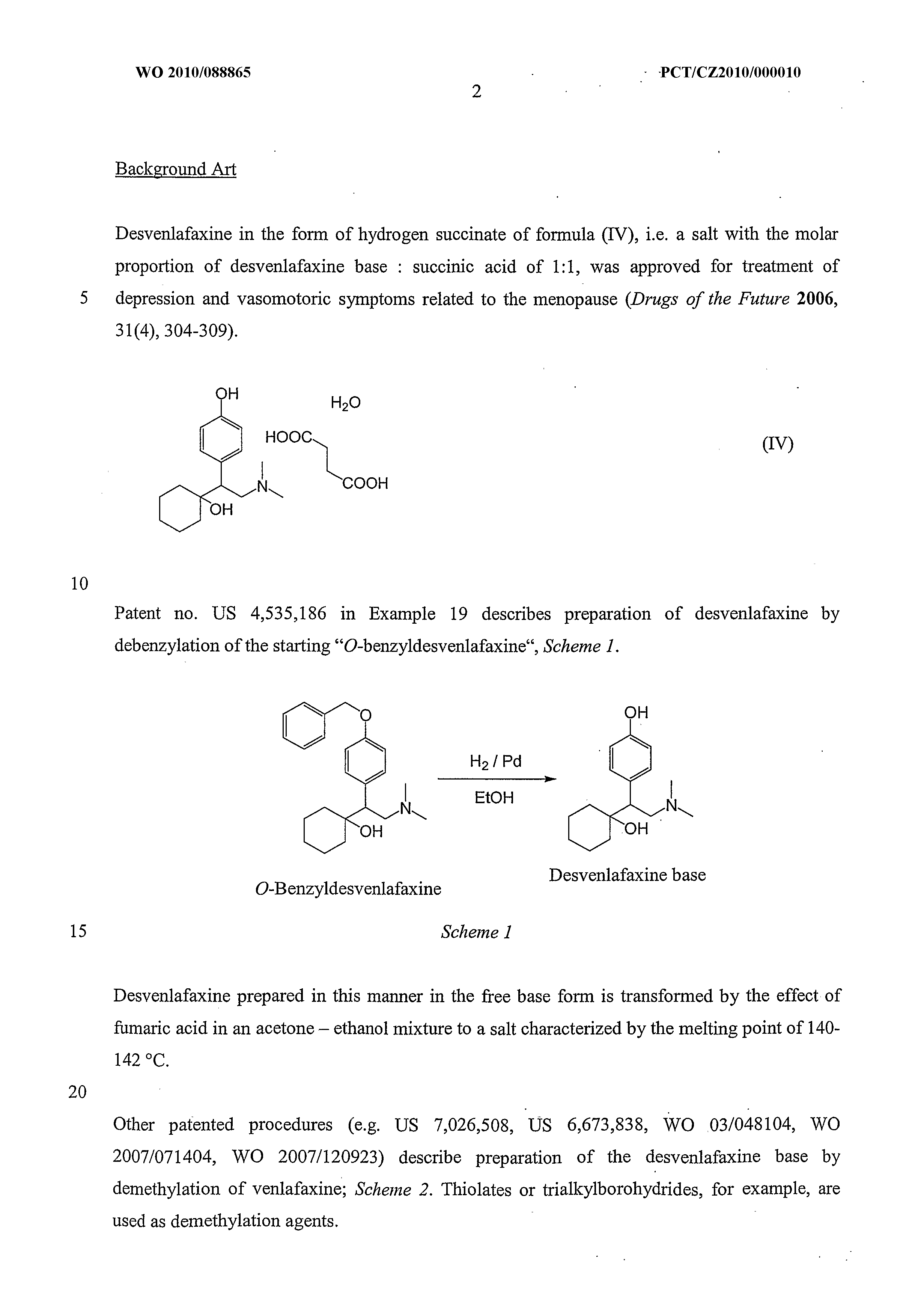 WO 2010/088865 A2 - New Salts Of Desvenlafaxine And A Method Of